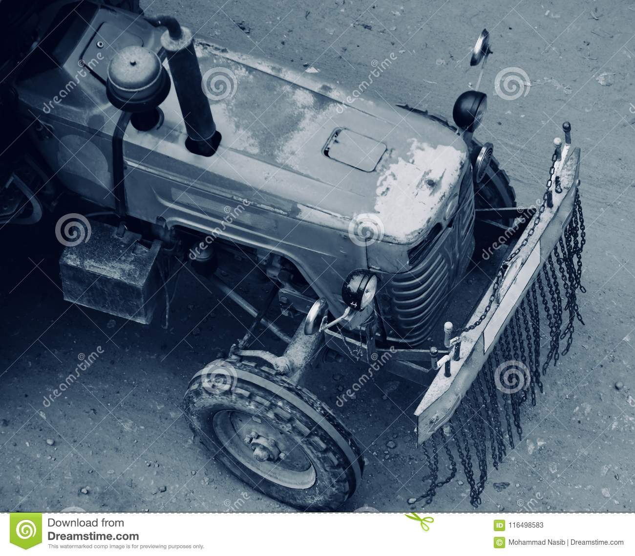 Download An Old Tractor Vehicles Running On The Indian Streets Stock Image - Image of isolated, truck: 116498583