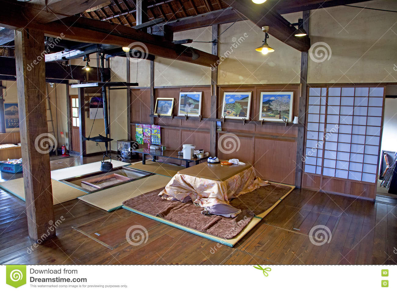 Interior of an old style traditional houses in the village of saiko iyashi no sato nenba near mount fuji