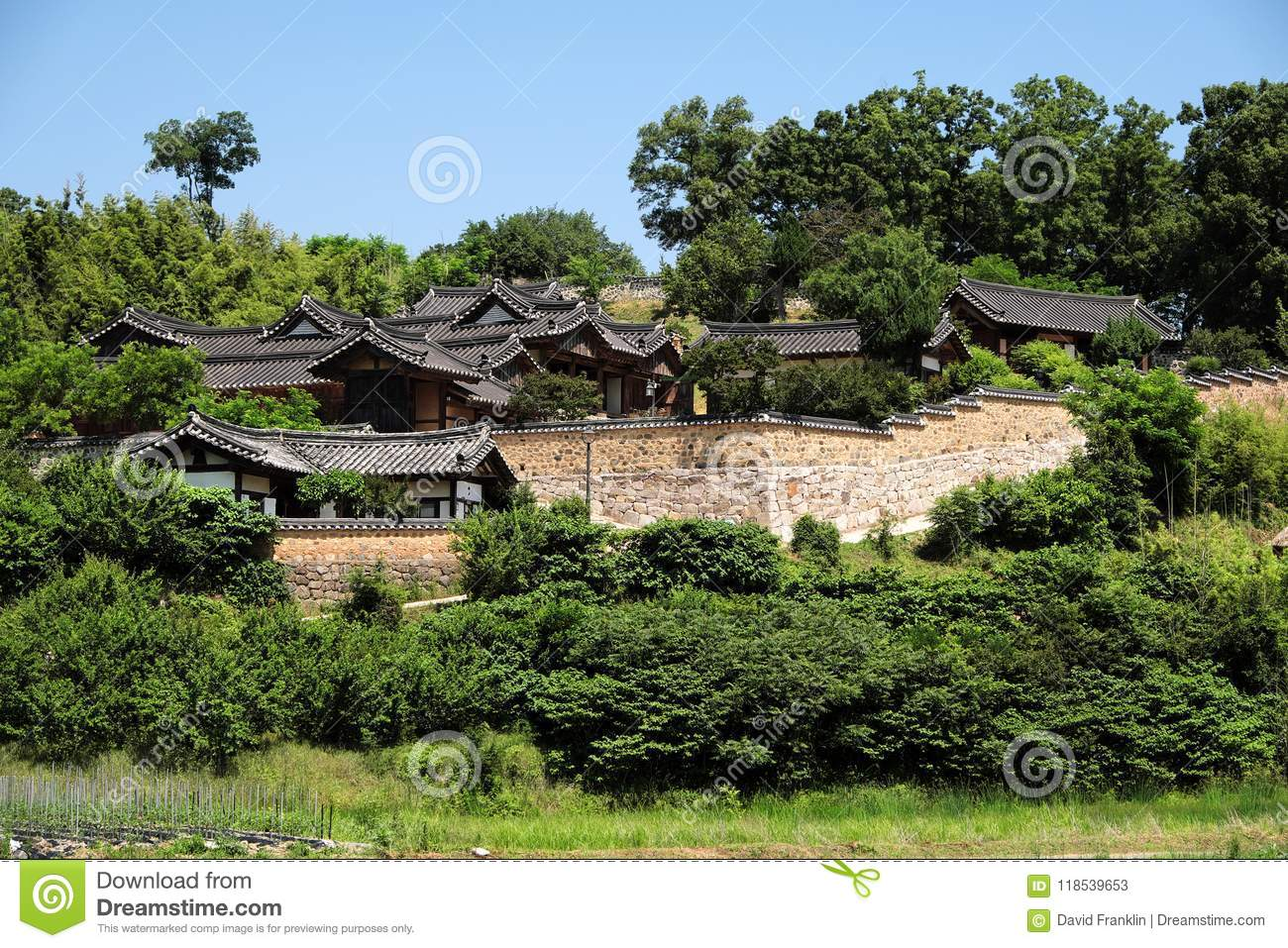Old Traditional Korean Folk Village Hillside Landscape View Stock