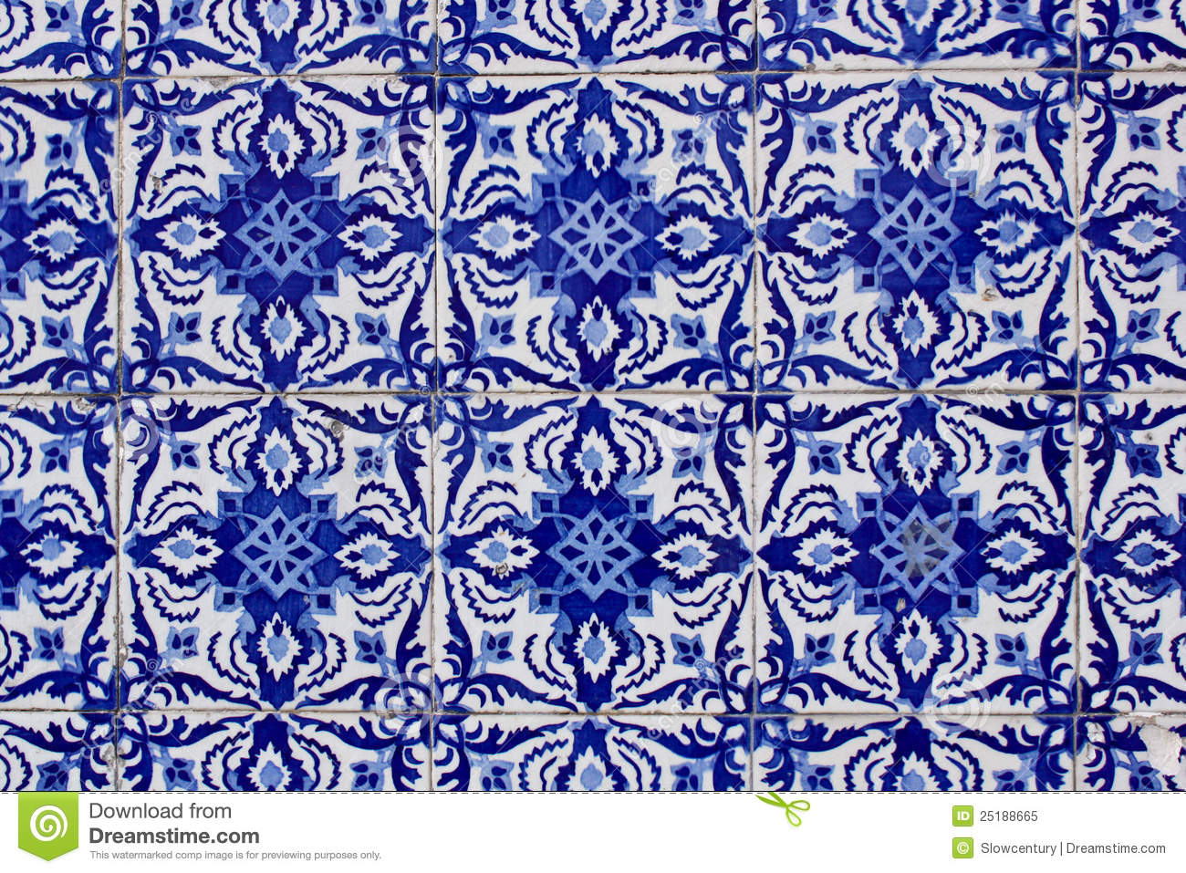 Old Traditional Portuguese Azulejo Tiles Stock Image
