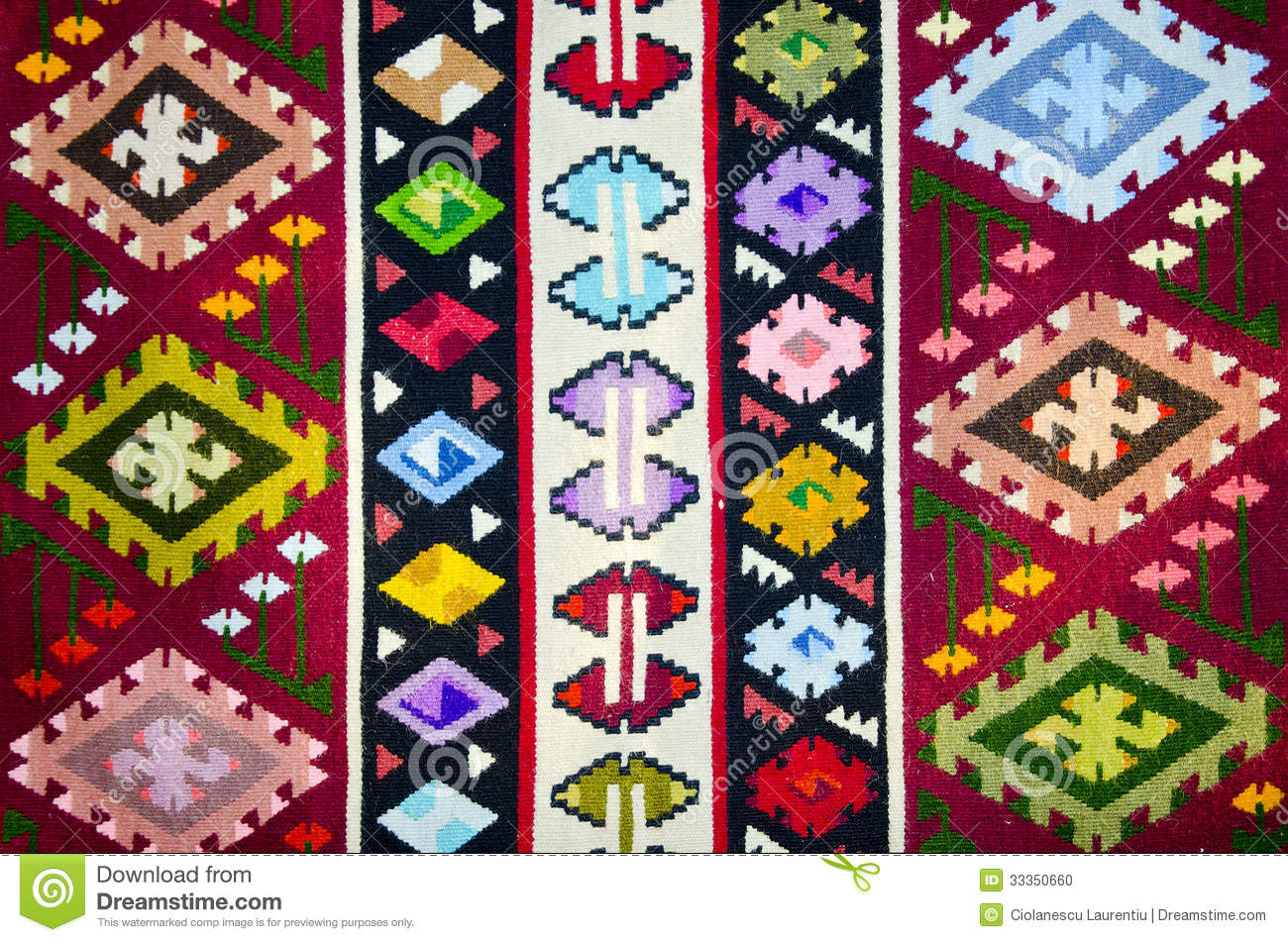 Old Traditional Romanian Wool Carpet Stock Photo Image 33350660