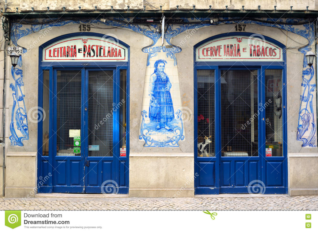 Old Traditional Store Front With Ceramic Tiles In Lisbon Portugal ...