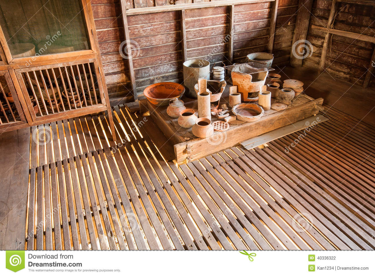 Old traditional thai kitchen and equipment stock photo for Traditional kitchen equipments
