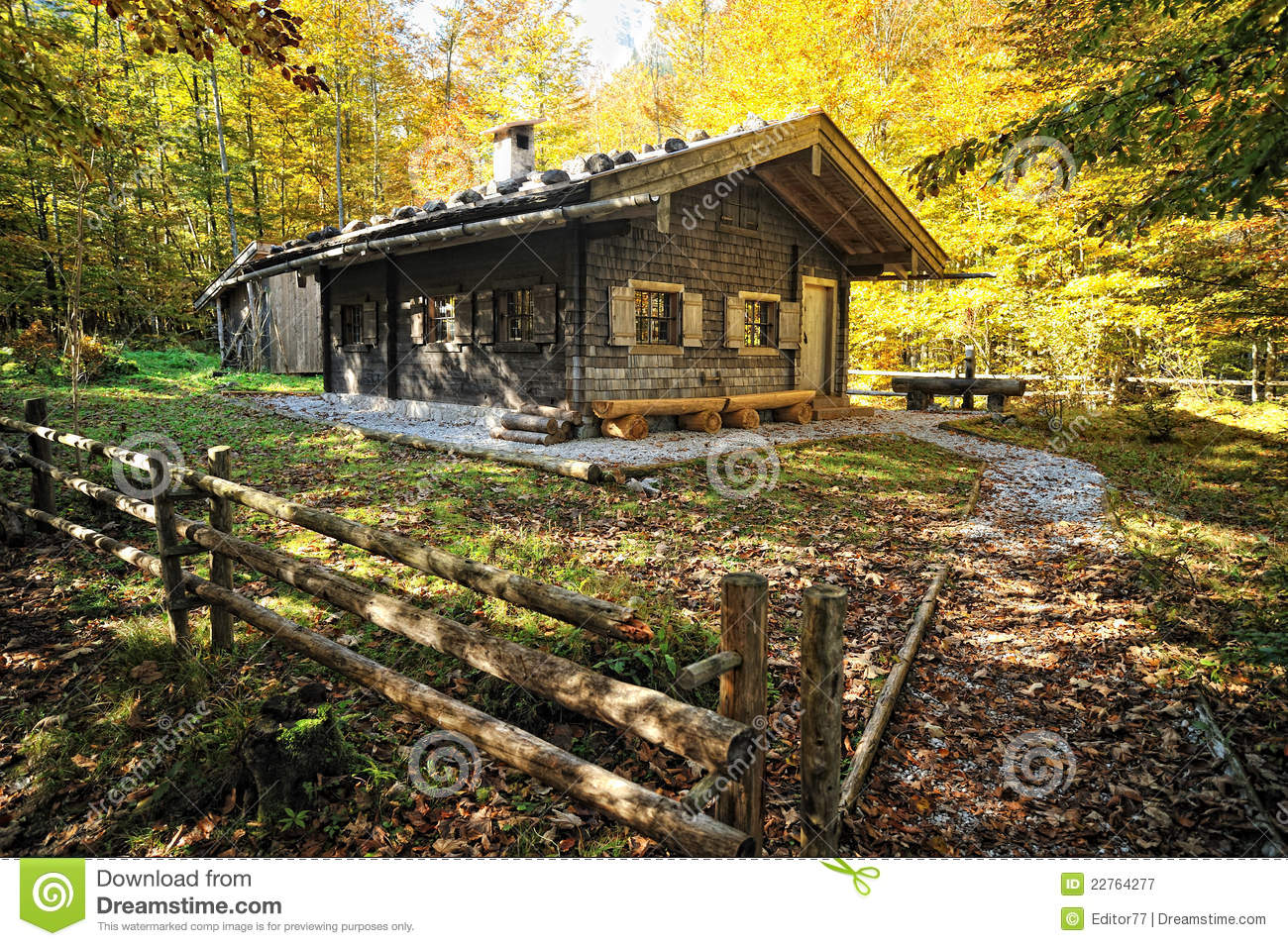 Autumn forest house season traditional wooden