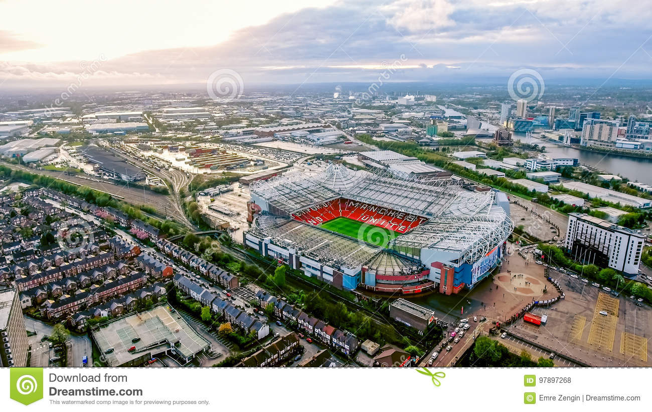 Old Trafford is a football stadium Greater Manchester England and the home of Manchester United. Aerial View of Iconic Football Gr