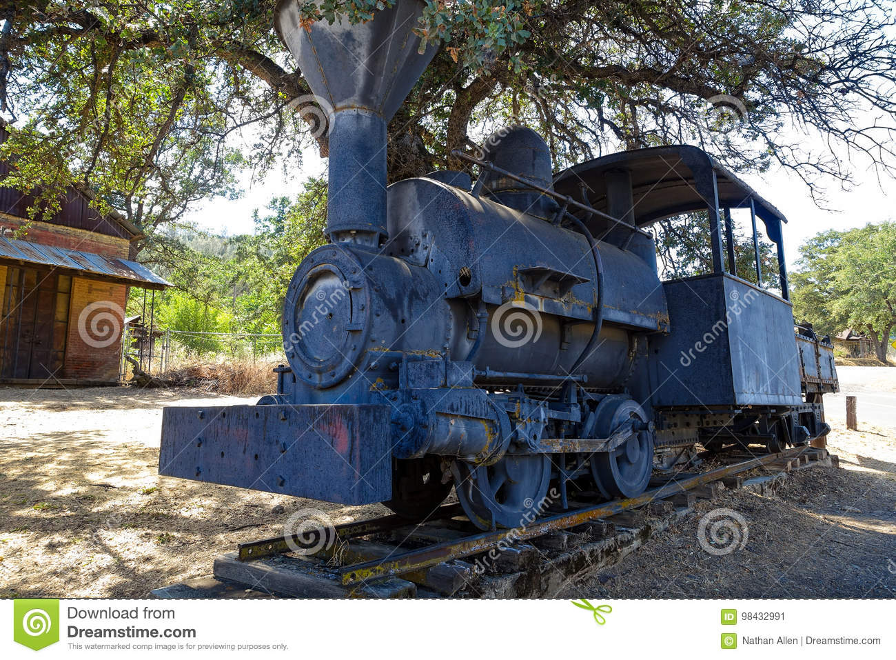 Old Train on Display in Coulterville, California