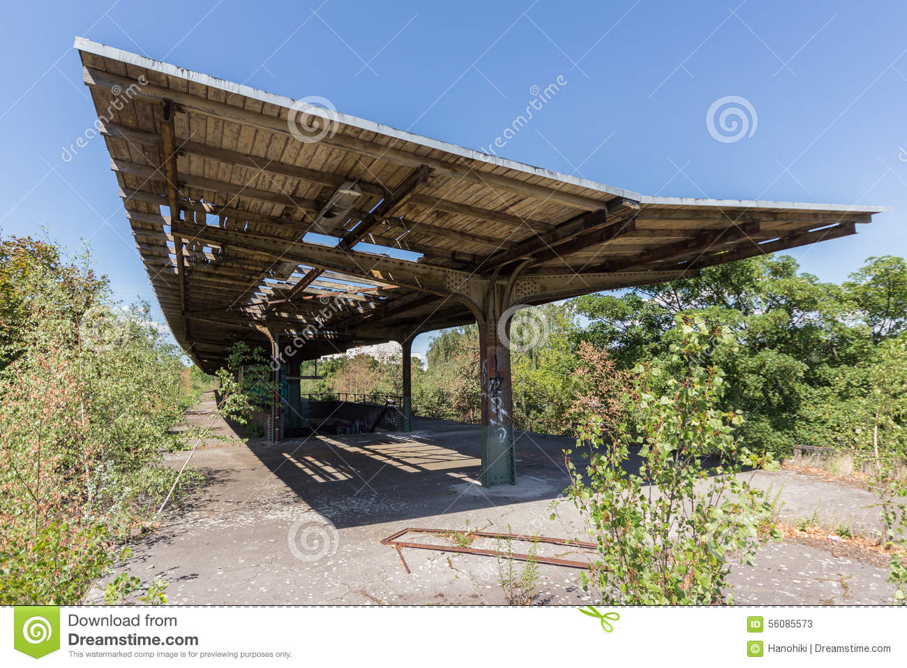 Outdoor Roof old train station, abandoned and overgrown - outdoor with