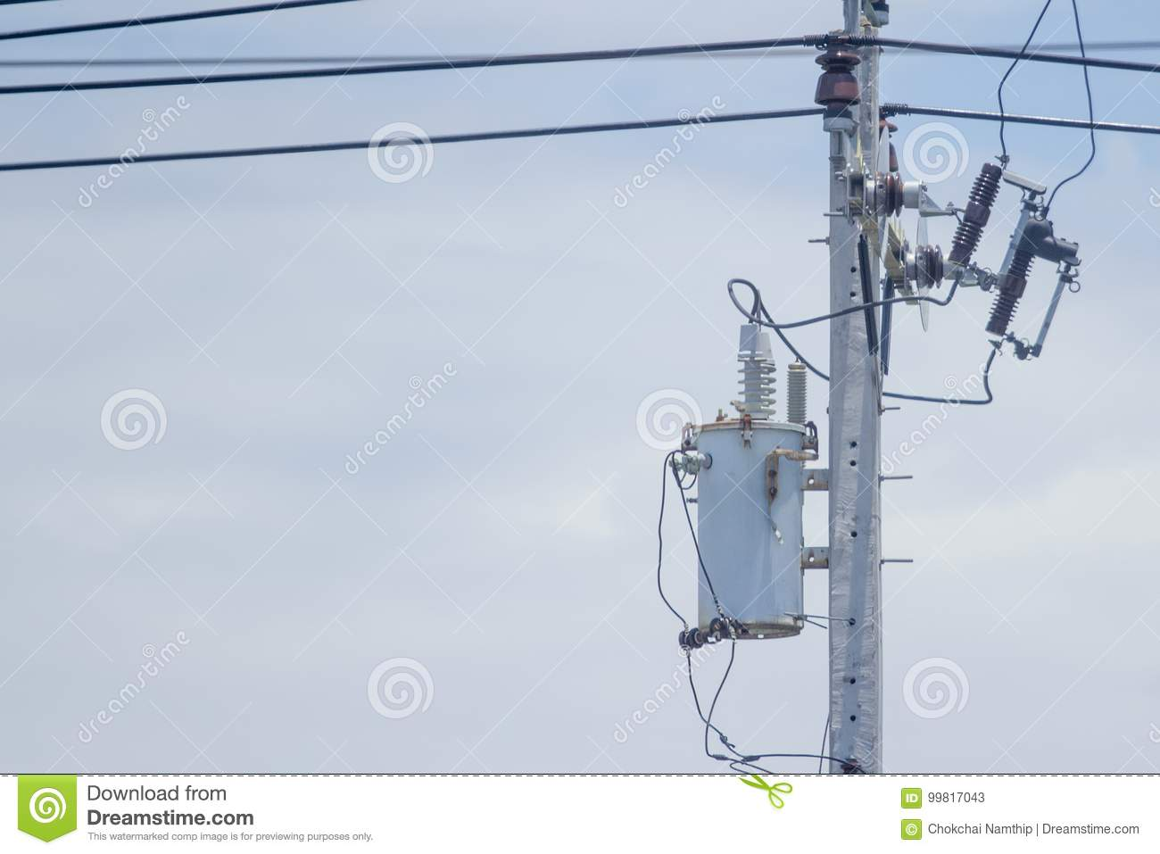 Old Transformer Install At The Power Poles Stock Image Of Wiring A