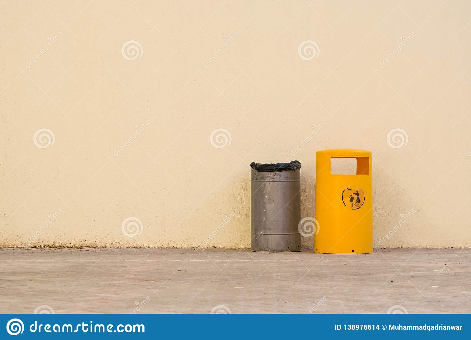 Old trash bin with empty space for writing stock images