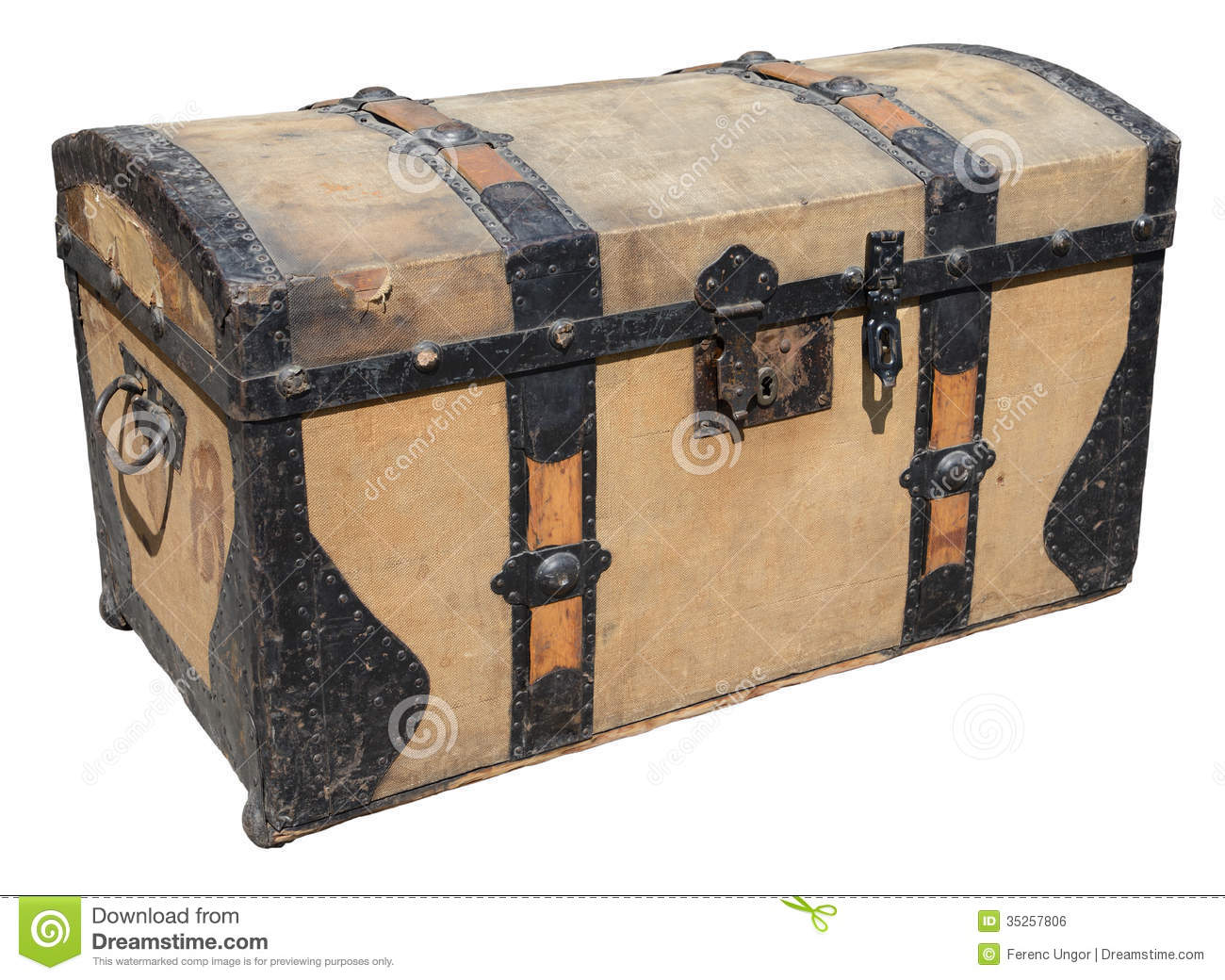 Royalty Free Stock Image Old Travel Box Wooden Trunk Metal Elements Isolated White Image35257806 on large metal storage box