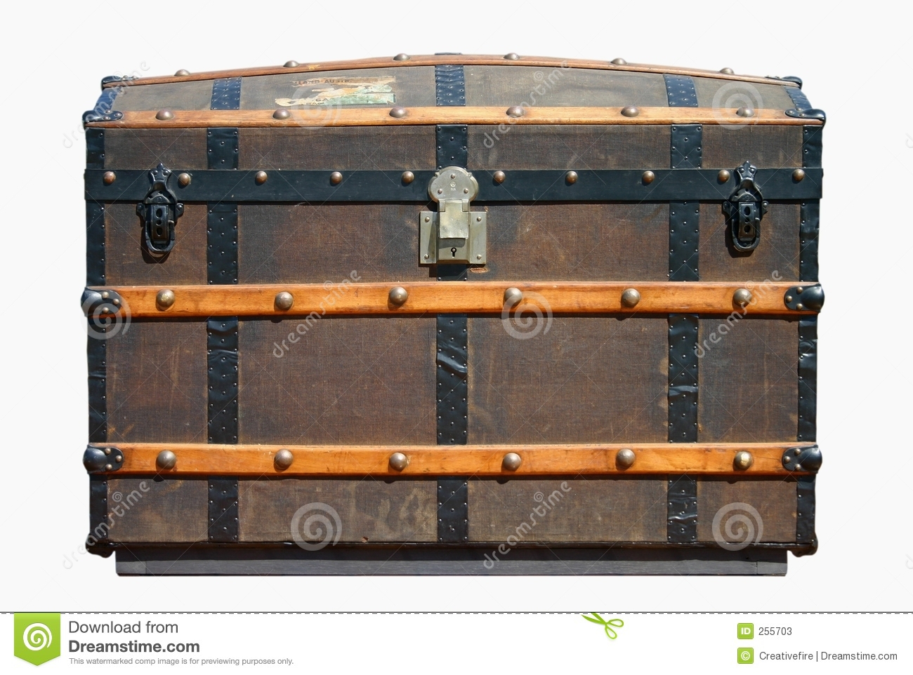Old travel trunk (isolated against white background).