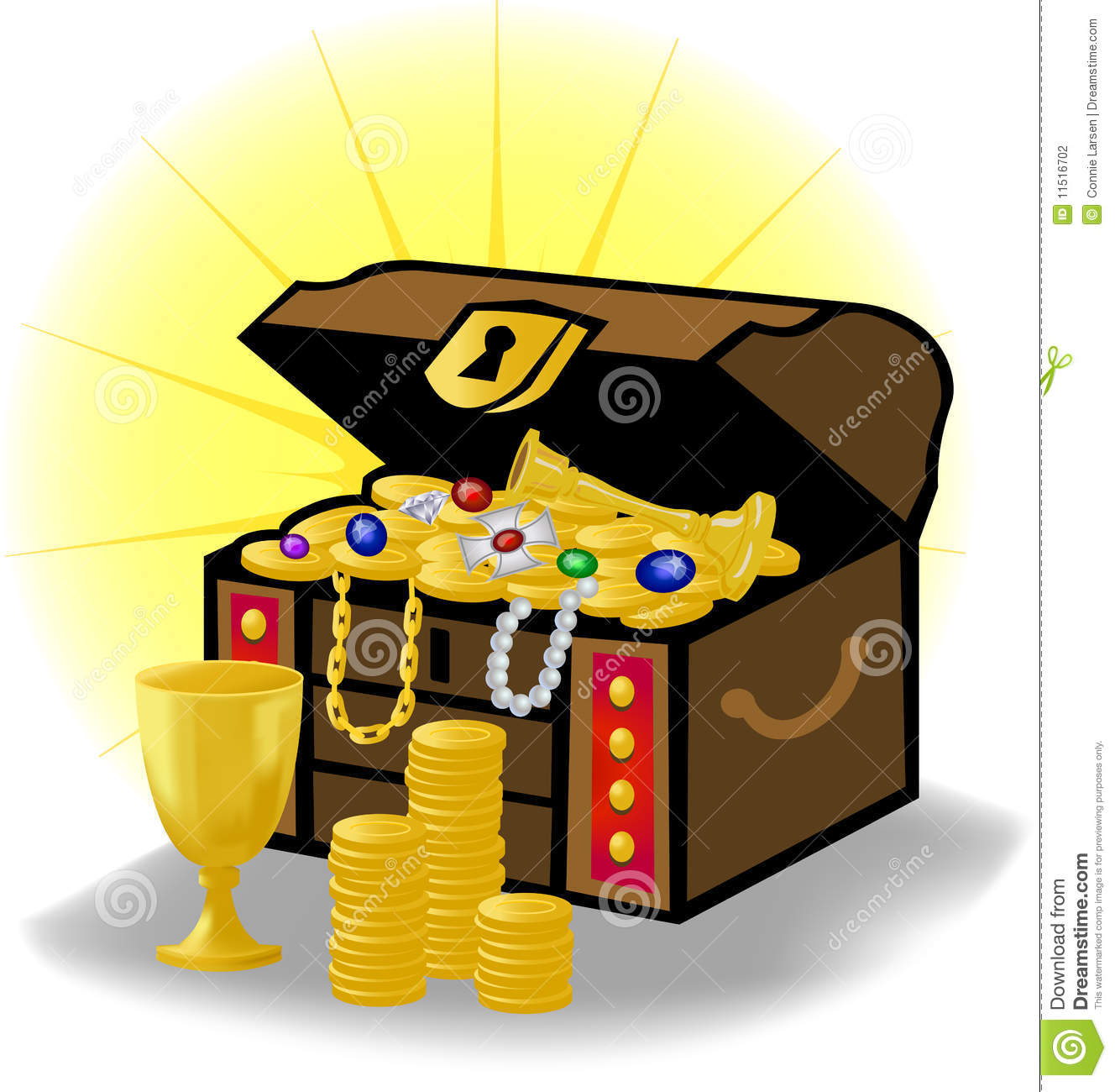 ... of a traditional treasure chest with gold coins, jewelry and gems
