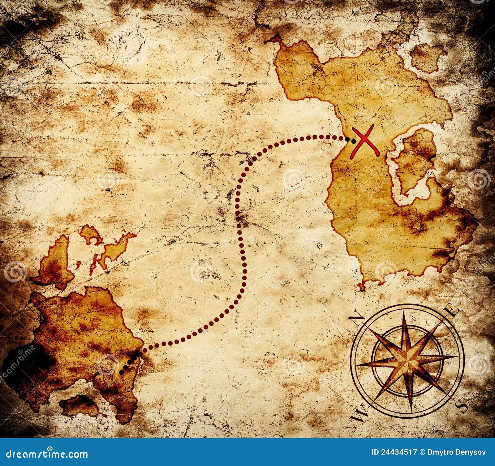 Old Treasure Map Stock Image Of Hunt Navigation