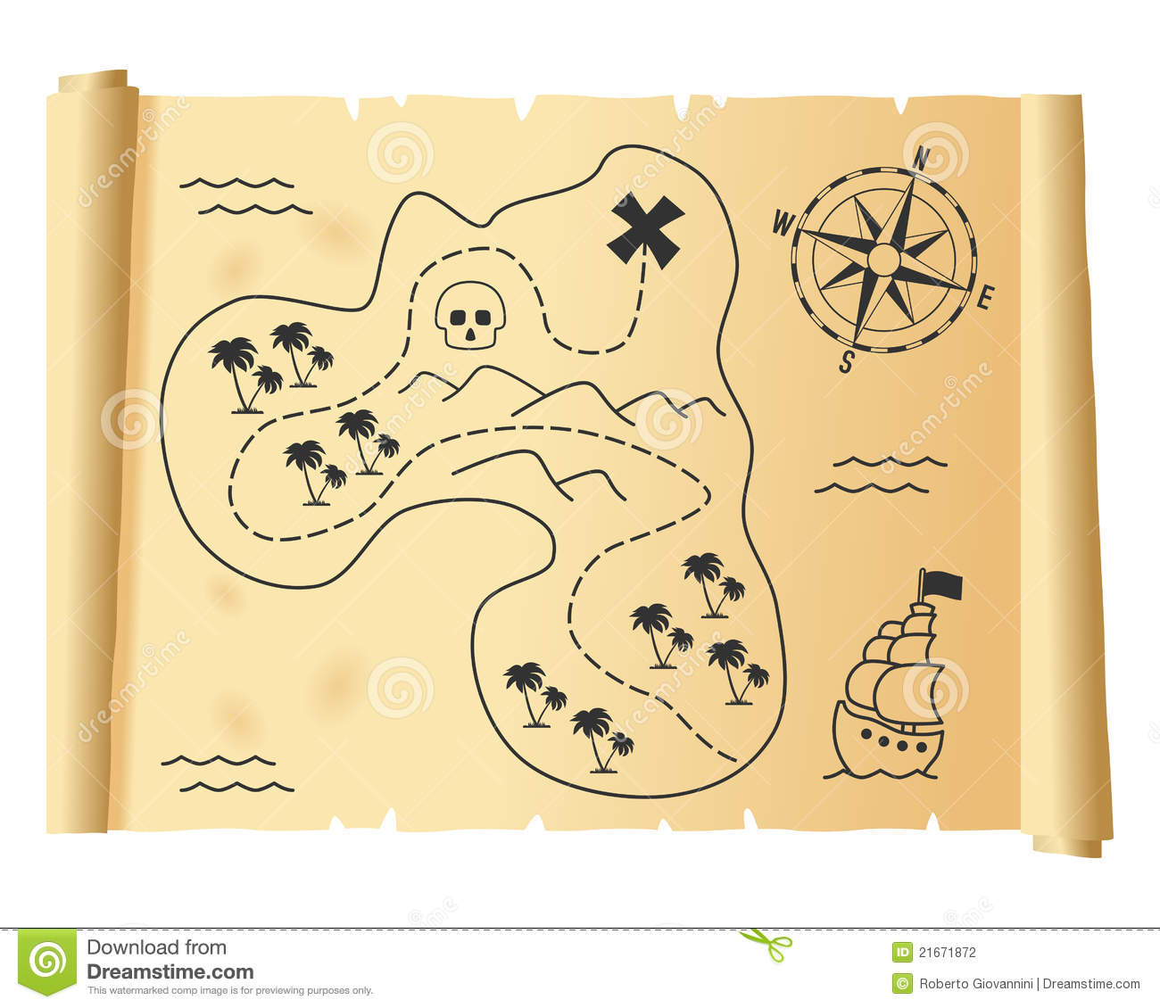 Old treasure map on a parchment scroll, isolated on white background ...