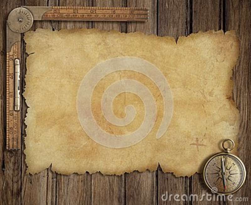 Old treasure map on wooden desk with compass and