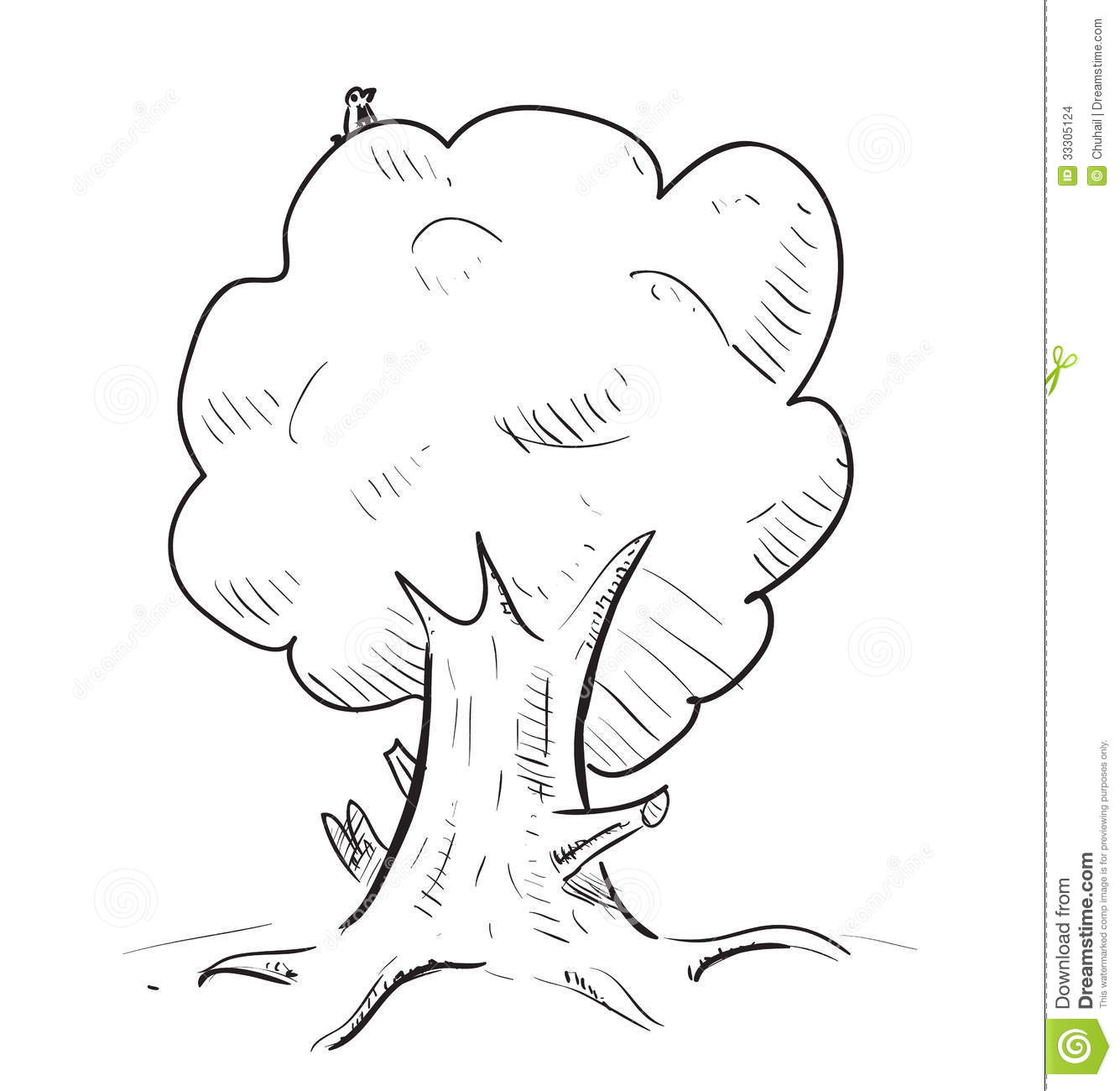 Old tree with hiding animals cartoon icon sketch fast pencil hand drawing illustration in funny doodle style