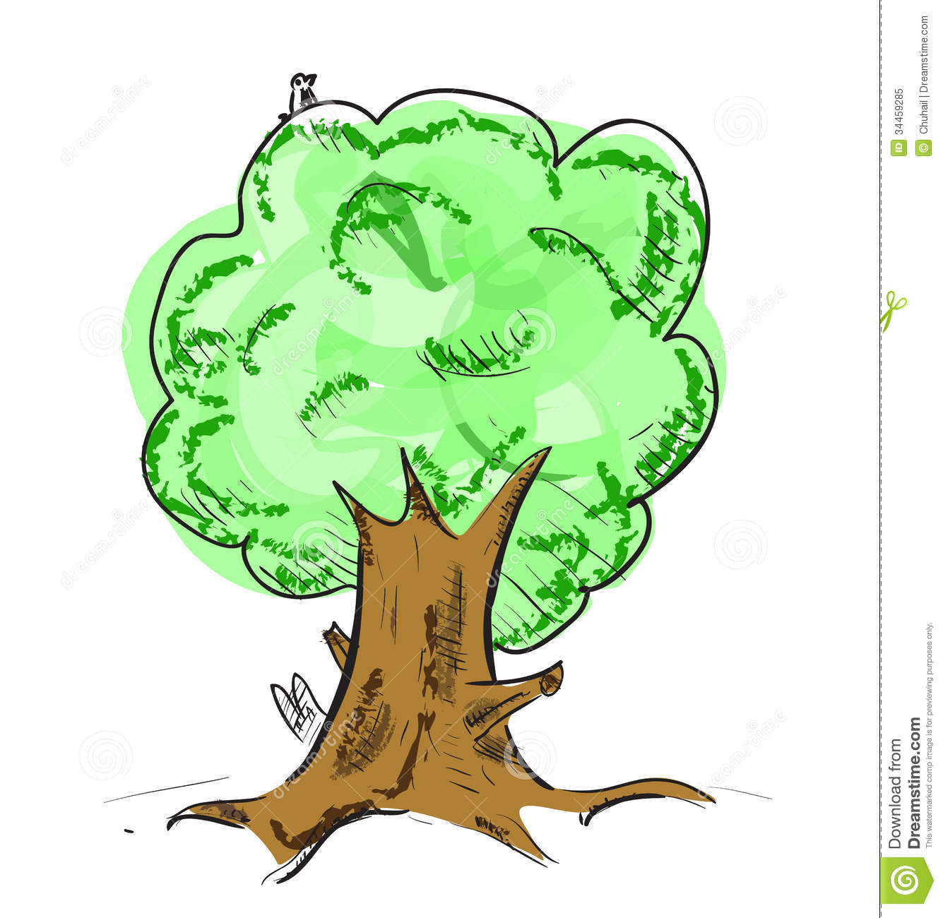 Old Tree With Hiding Animals Cartoon Icon Royalty Free Stock Photo ...