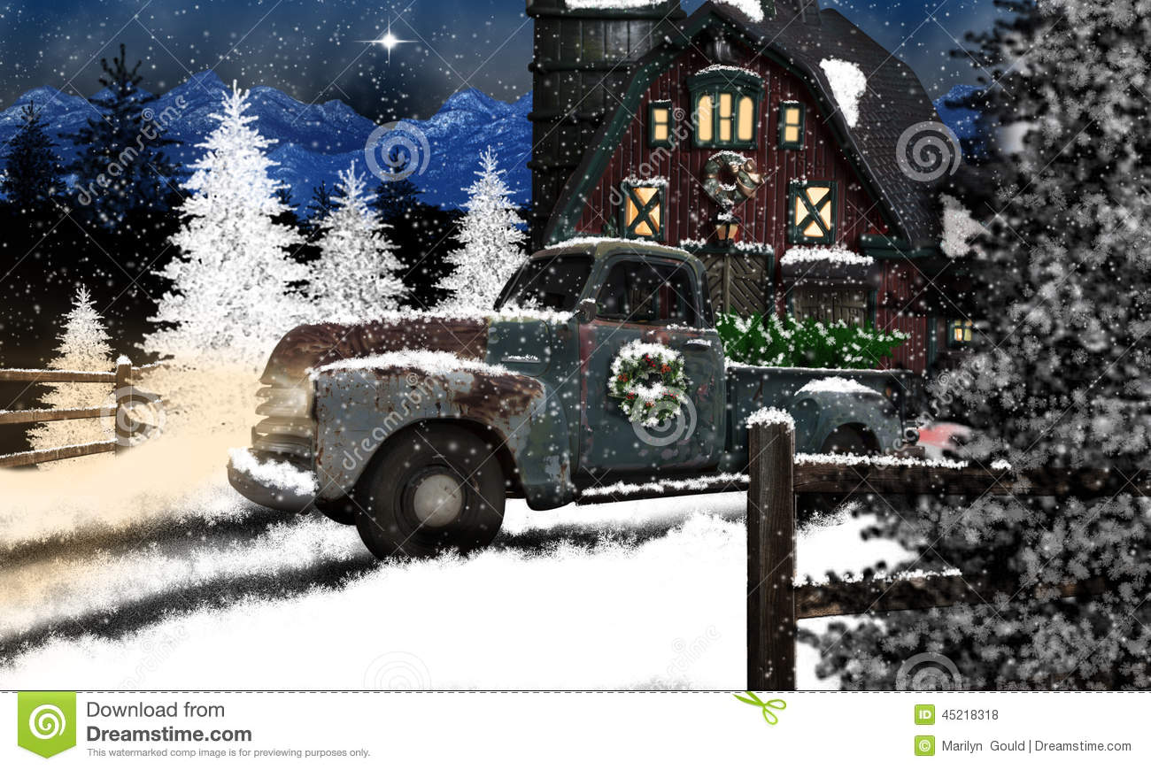 Old Truck And Barn At Christmas Stock Photo