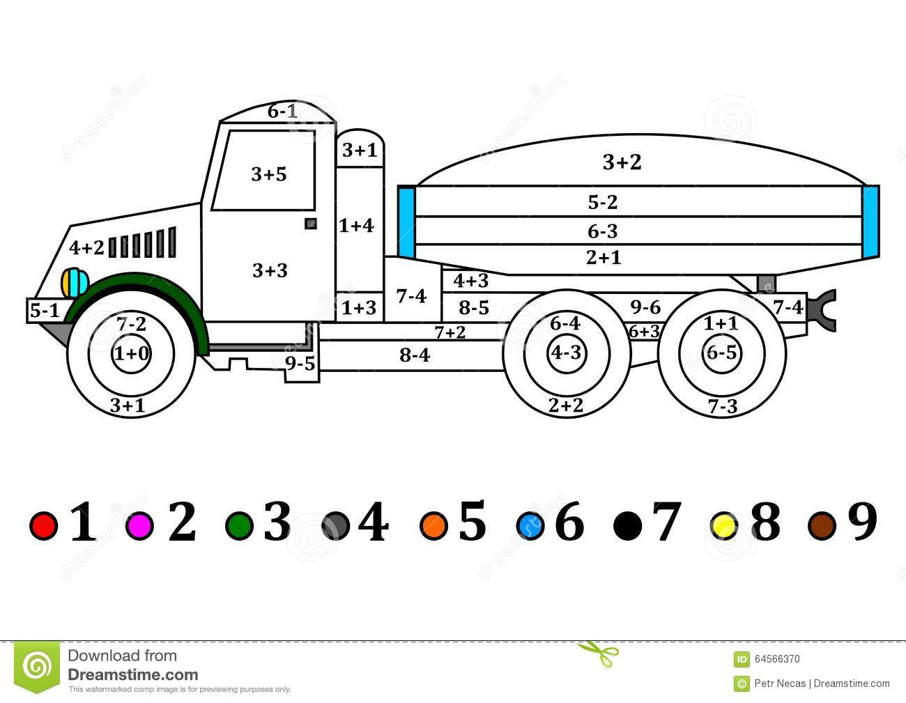 Old Truck With The Numerical Examples For Kids