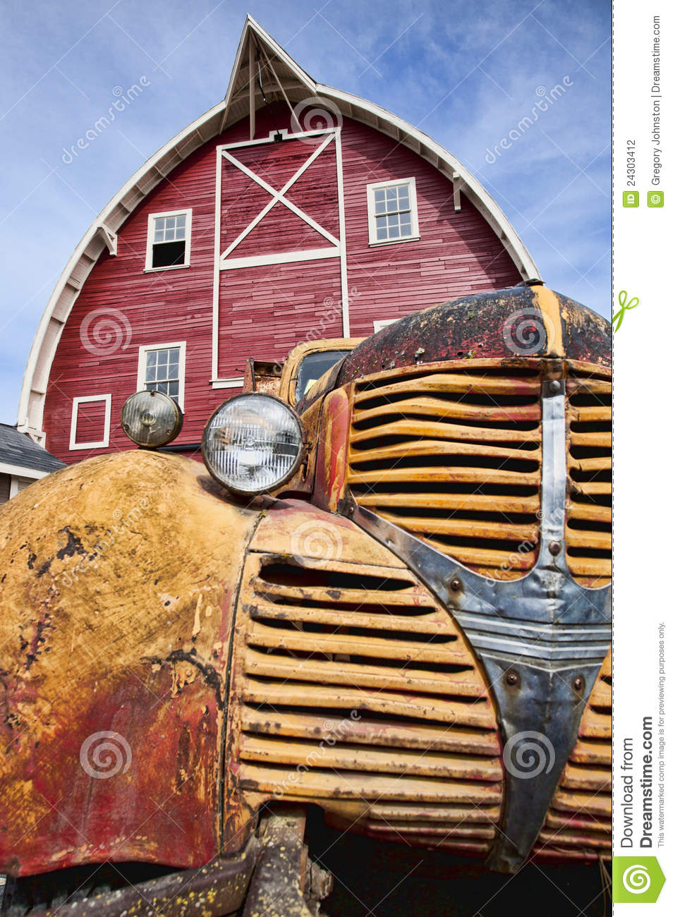 Old Truck And Red Barn Stock Photography Image 24303412
