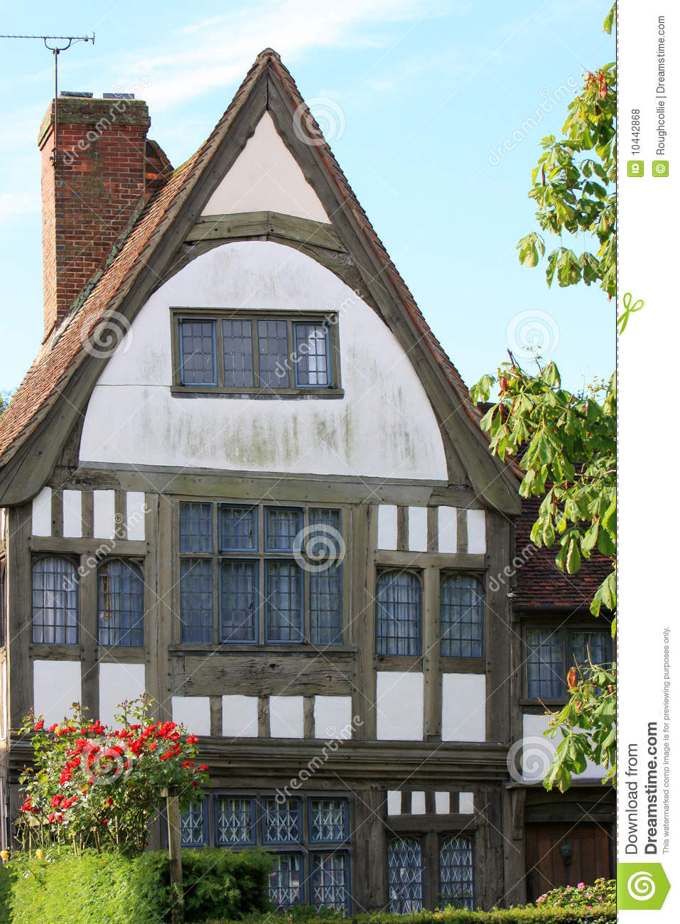 Old tudor house english stock photo image of village for Half timbered house plans