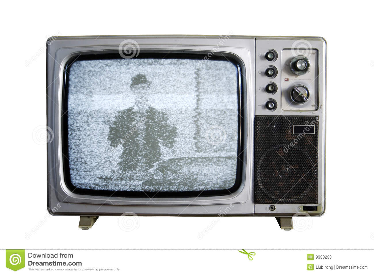 An Old Tv With The Noise On White Background Royalty Free