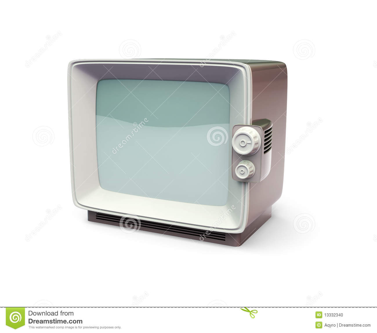 Old TV Set 3d Model Stock Photo