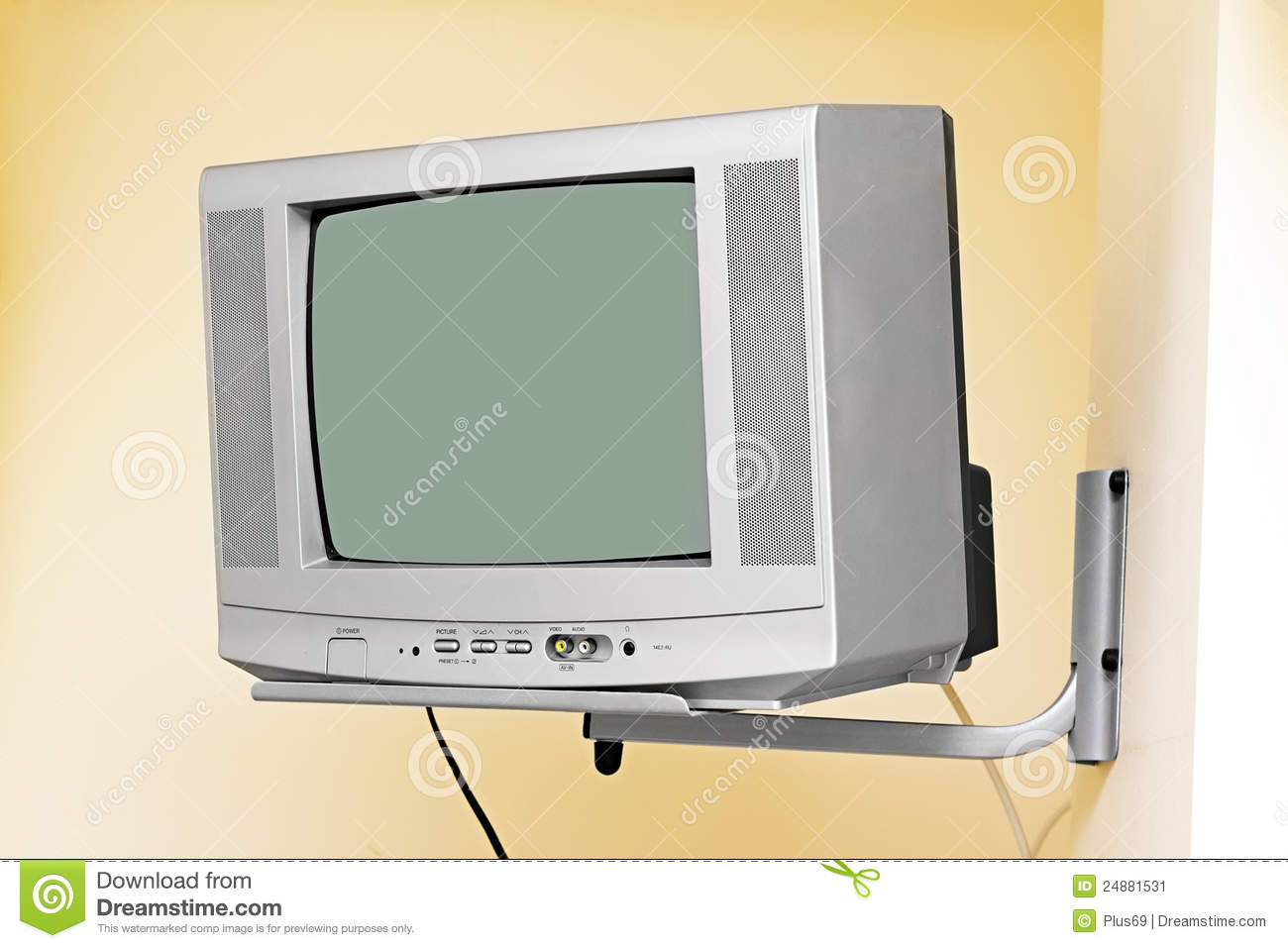 an old tv on the wall stock image image of technology 24881531. Black Bedroom Furniture Sets. Home Design Ideas