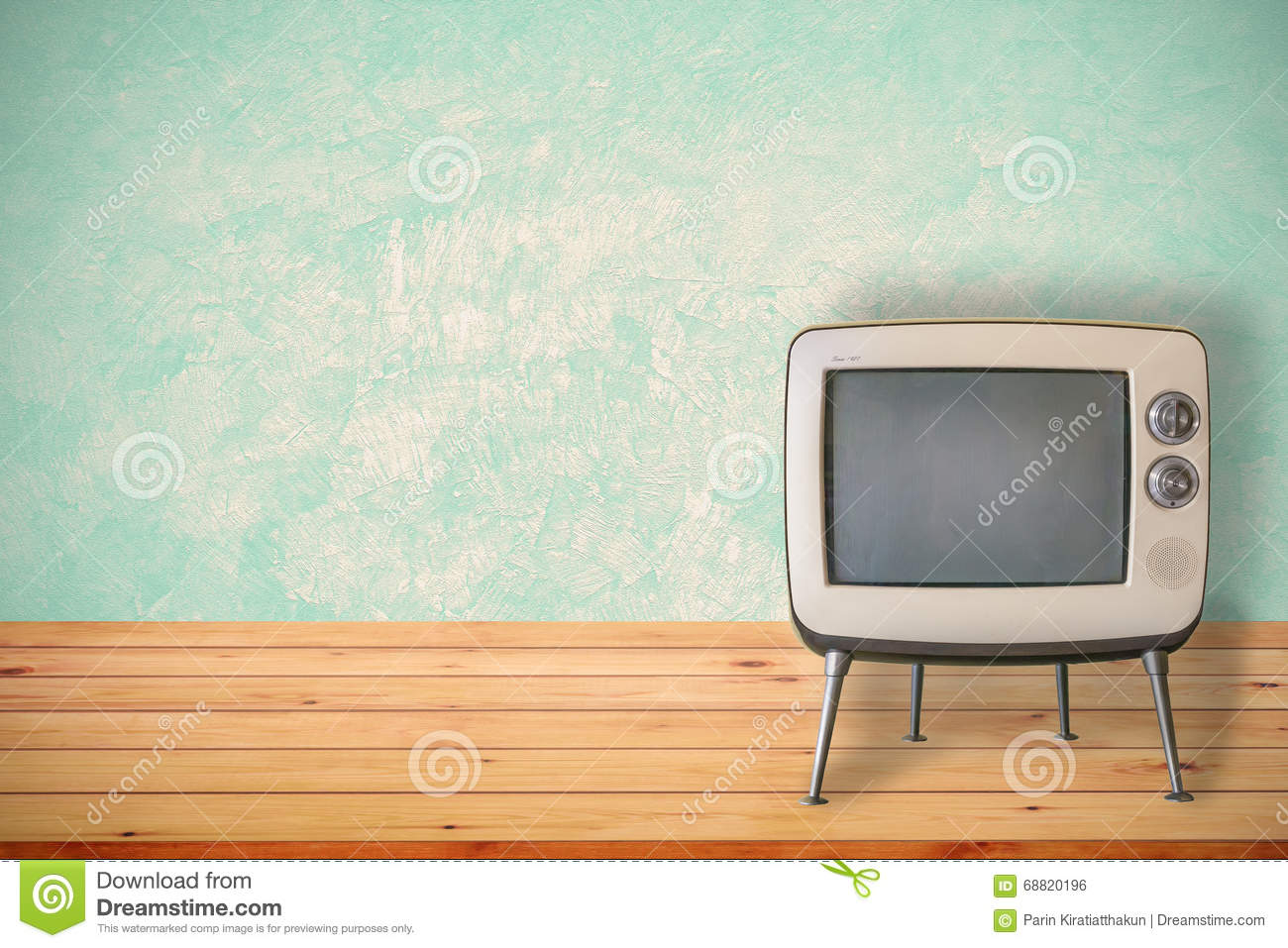Old Tv On Wood Table Stock Image Image Of Display Antique  # Table Television En Bois