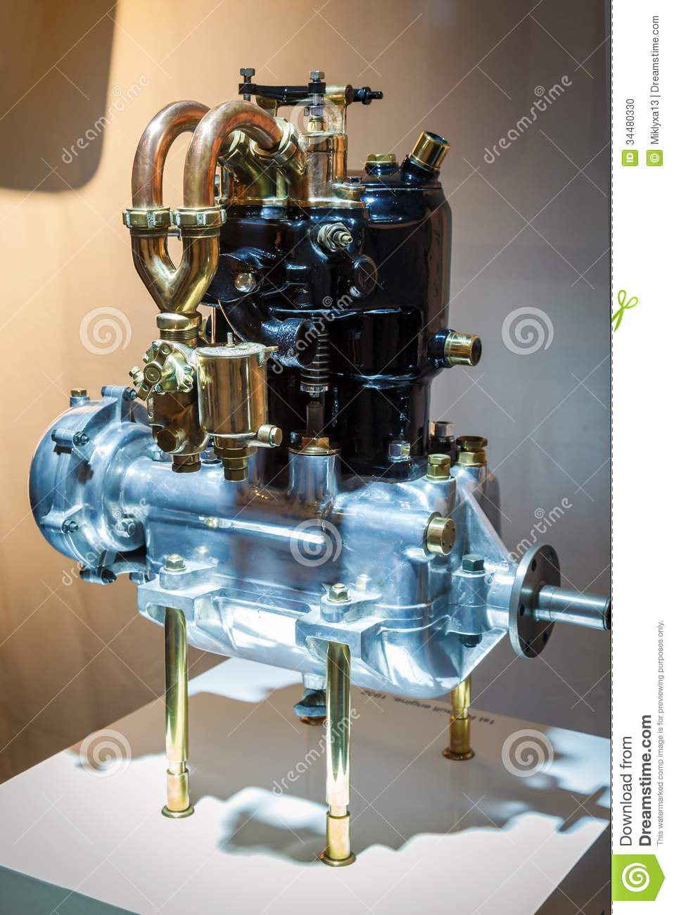 Old Two-cylinder Car Engine Stock Photo