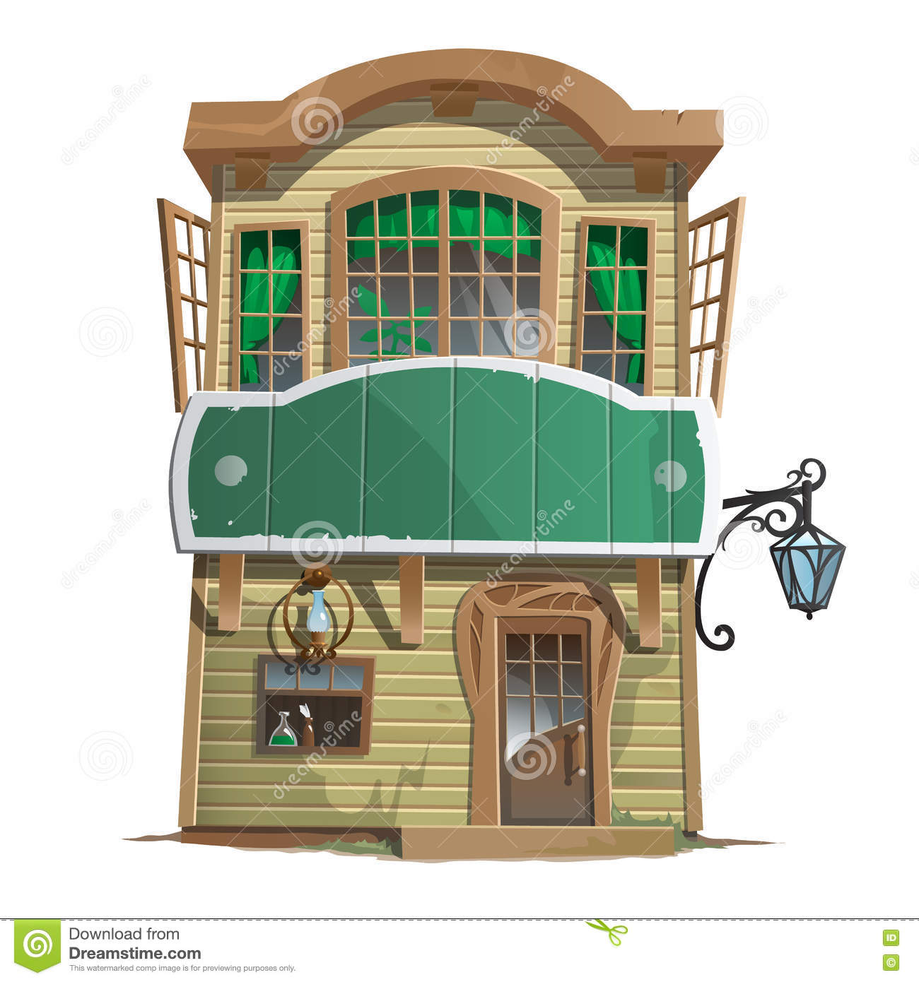Old two story pharmacy building stock vector image 73694668 for Building a two story house