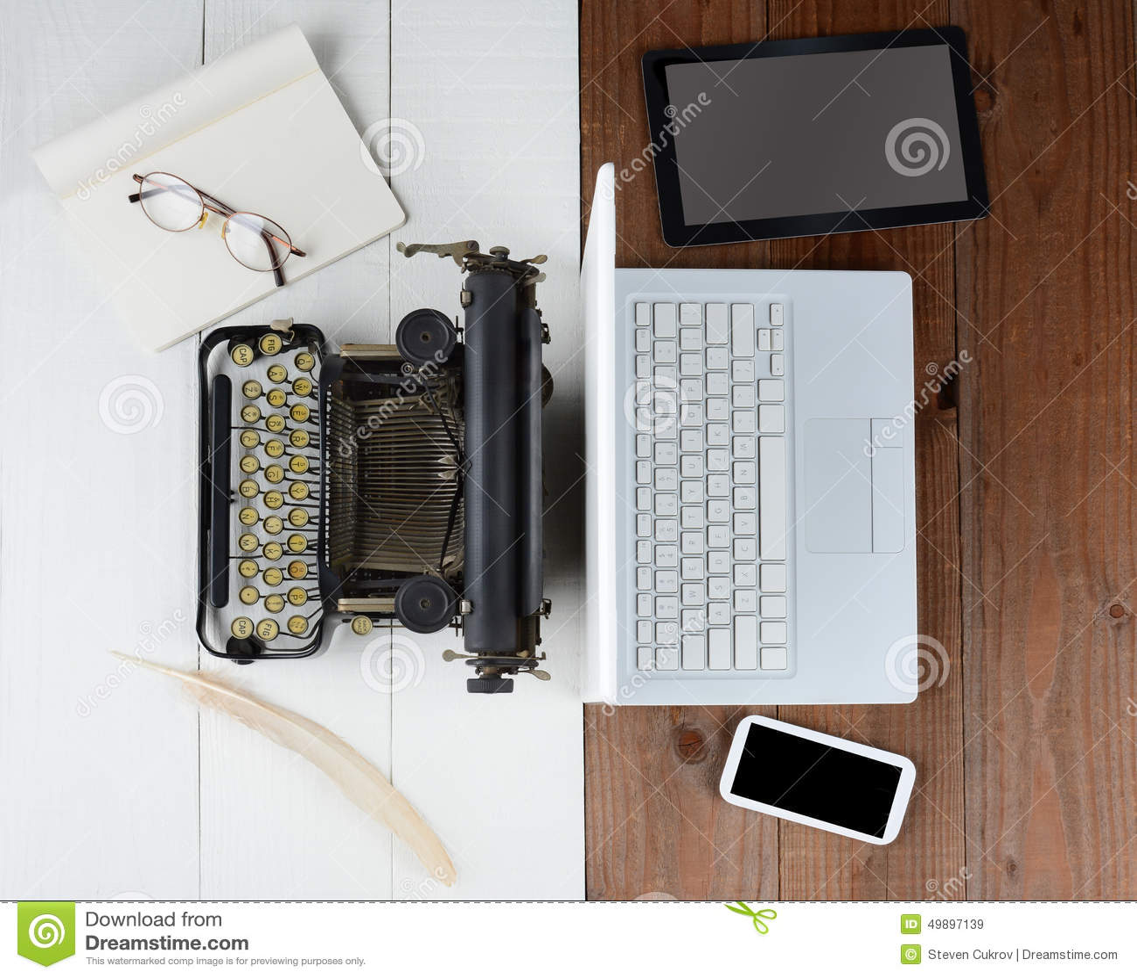 Old Typewriter And Computer Stock Image Image 49897139