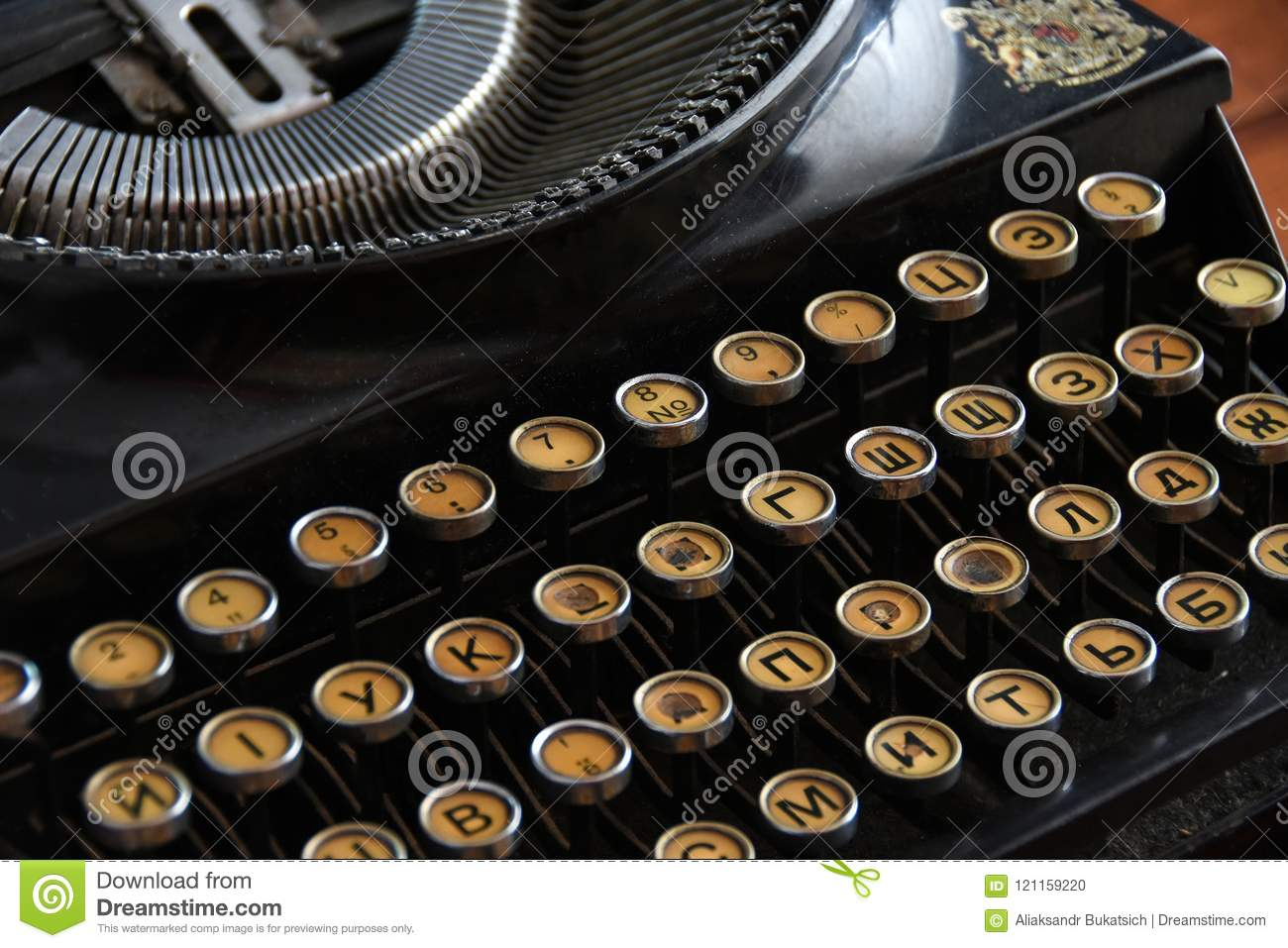 Old Typewriter With Letters In Russian Font Close-up Stock