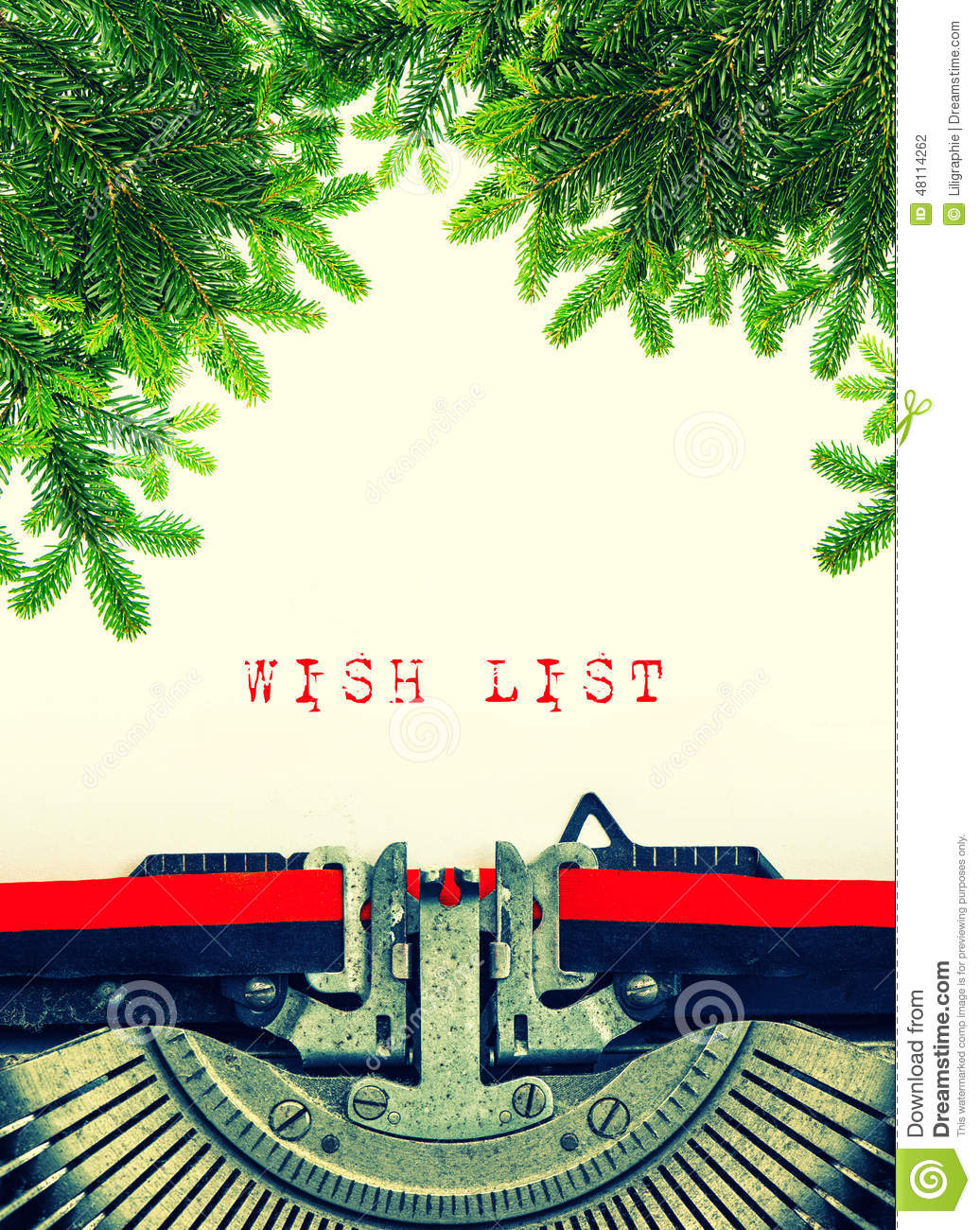 Old Typewriter With Sample Text Wish List Christmas Tree Twigs – Sample Christmas List