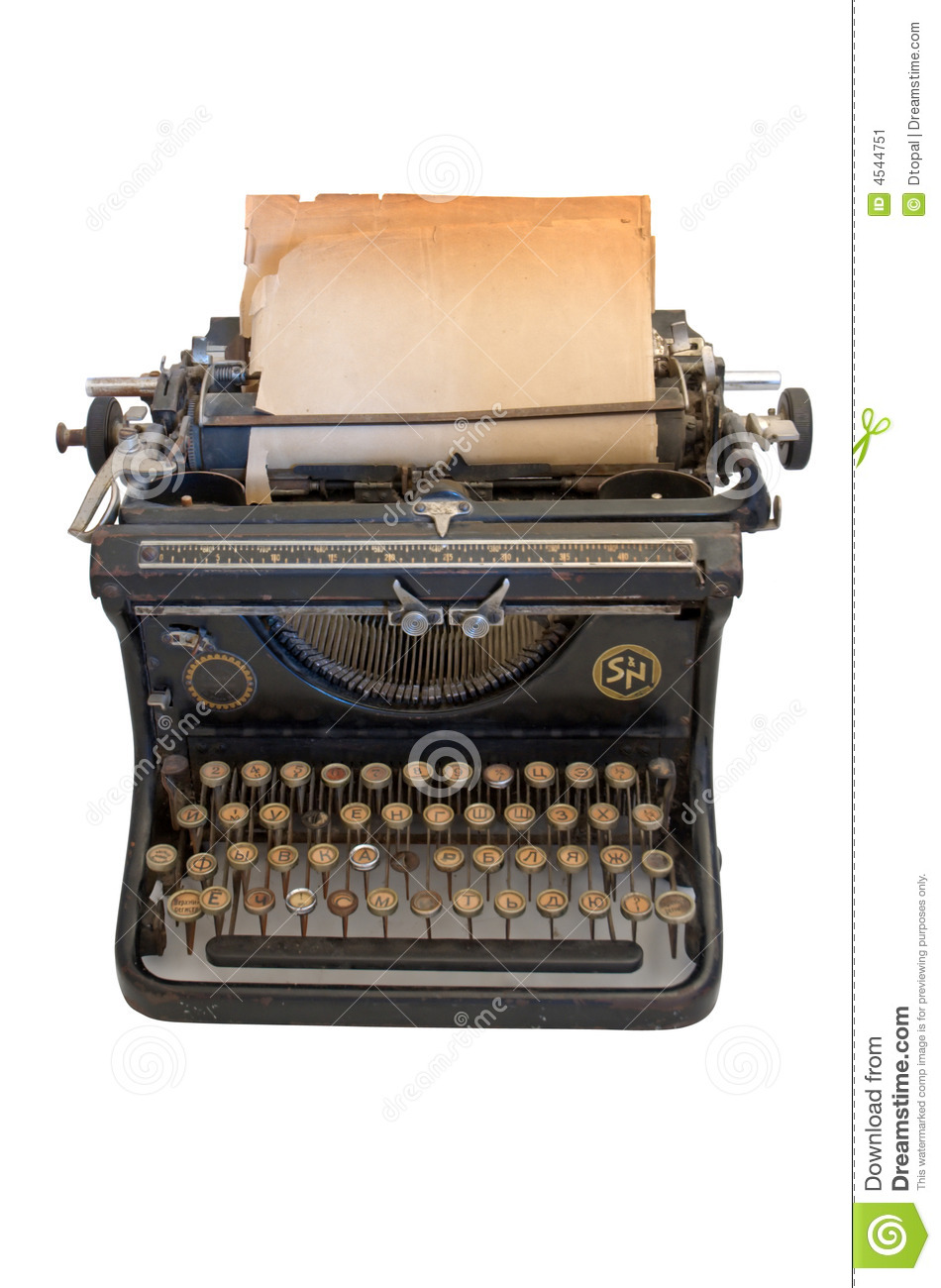 Old Typewriter With A Sheet Of Paper Stock Image Image