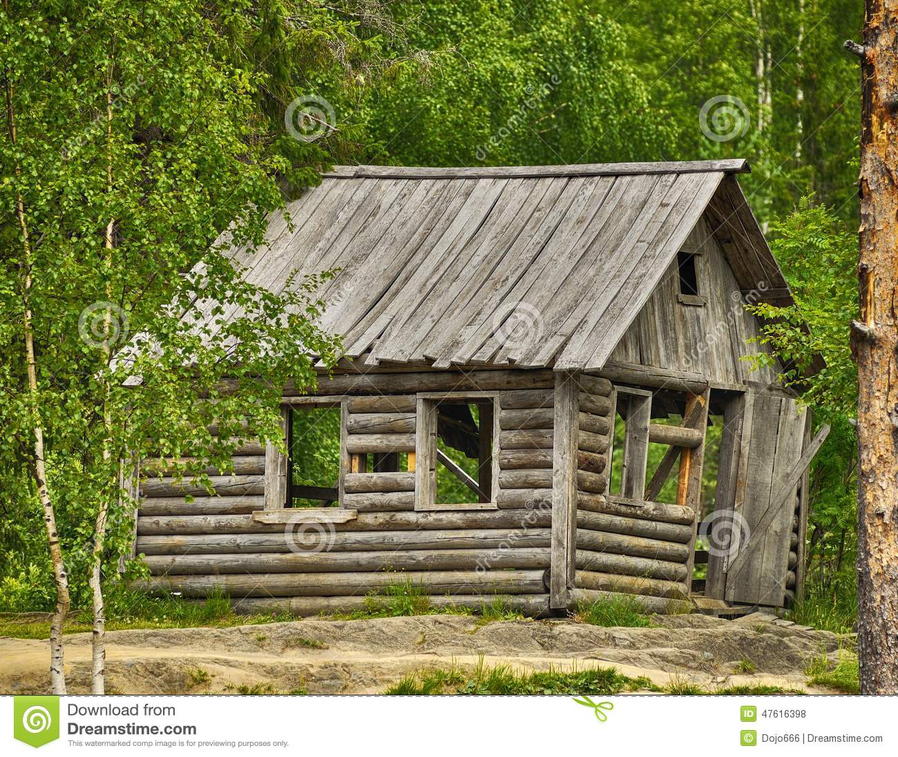 Forest house old russian typical wooden
