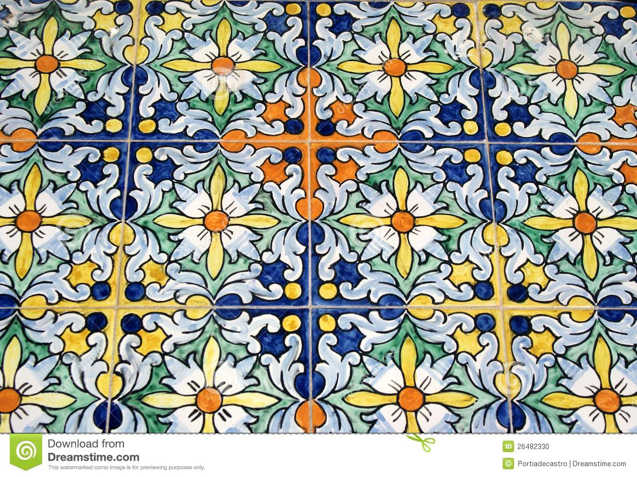 Old Typical Spanish Tiles Stock Photo Image 26482330