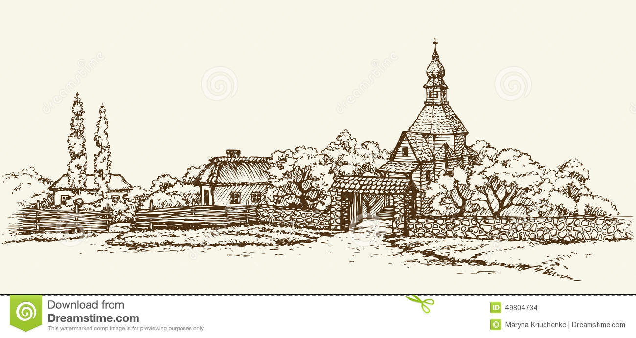 Notebook And Pen Sketch Stock Vector Art More Images Of: Old Ukrainian Village. Vector Sketch Stock Vector