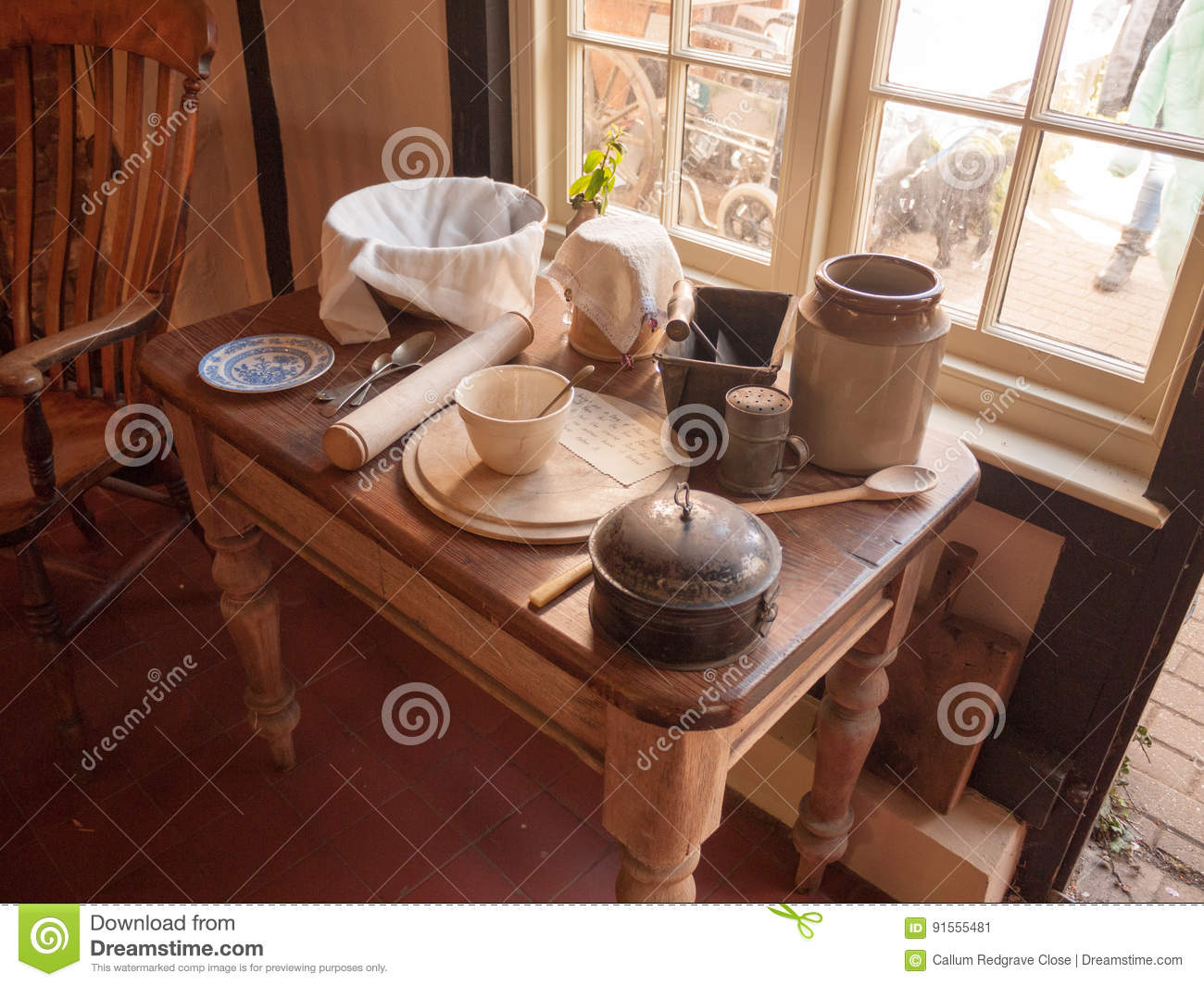 Old And Unique Antique Kitchen Table Top Items On Display In