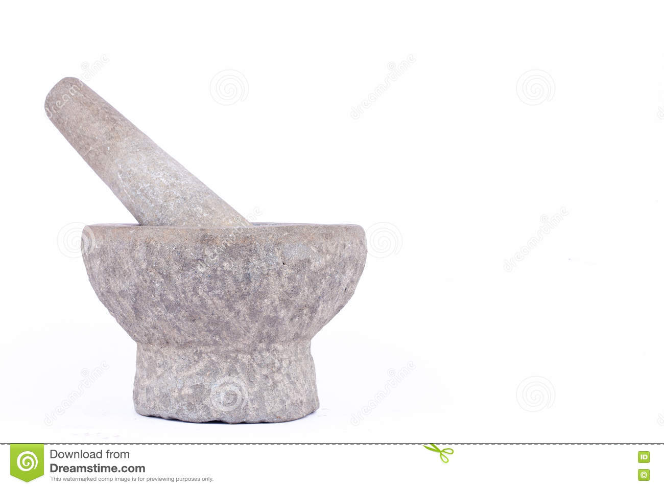 Old Used Granite Stone Mortar And Pestle Are Thai Cooking
