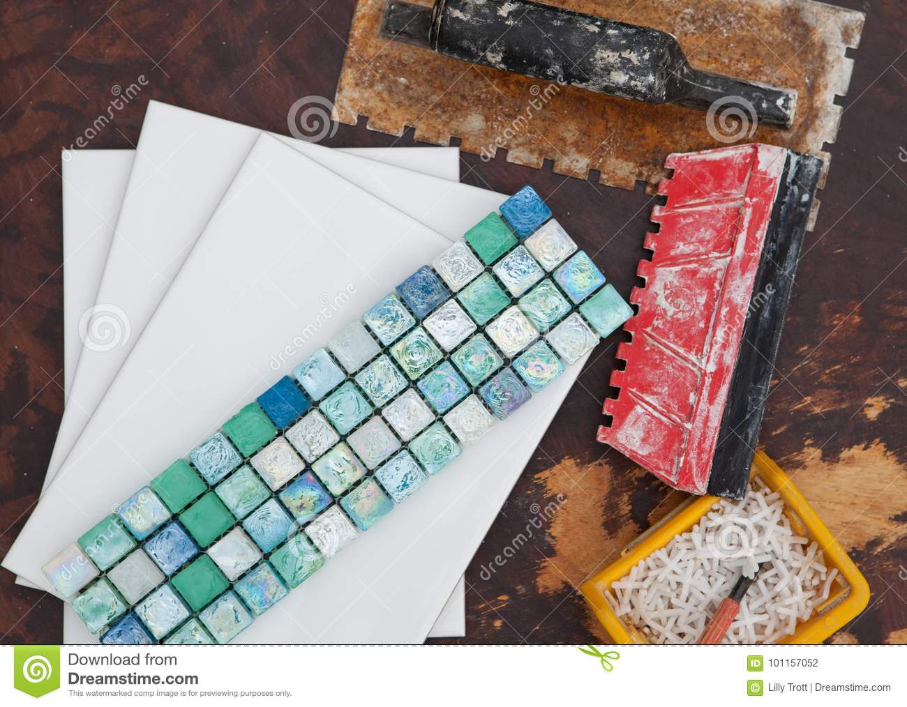Old used tools for tiling stock photo. Image of pins - 101157052