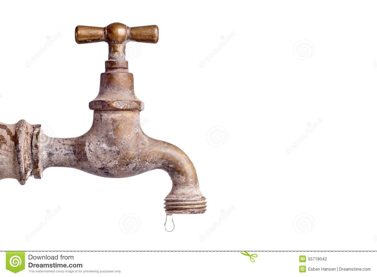Old And Used Vintage Faucet With Water Drop Stock Photo