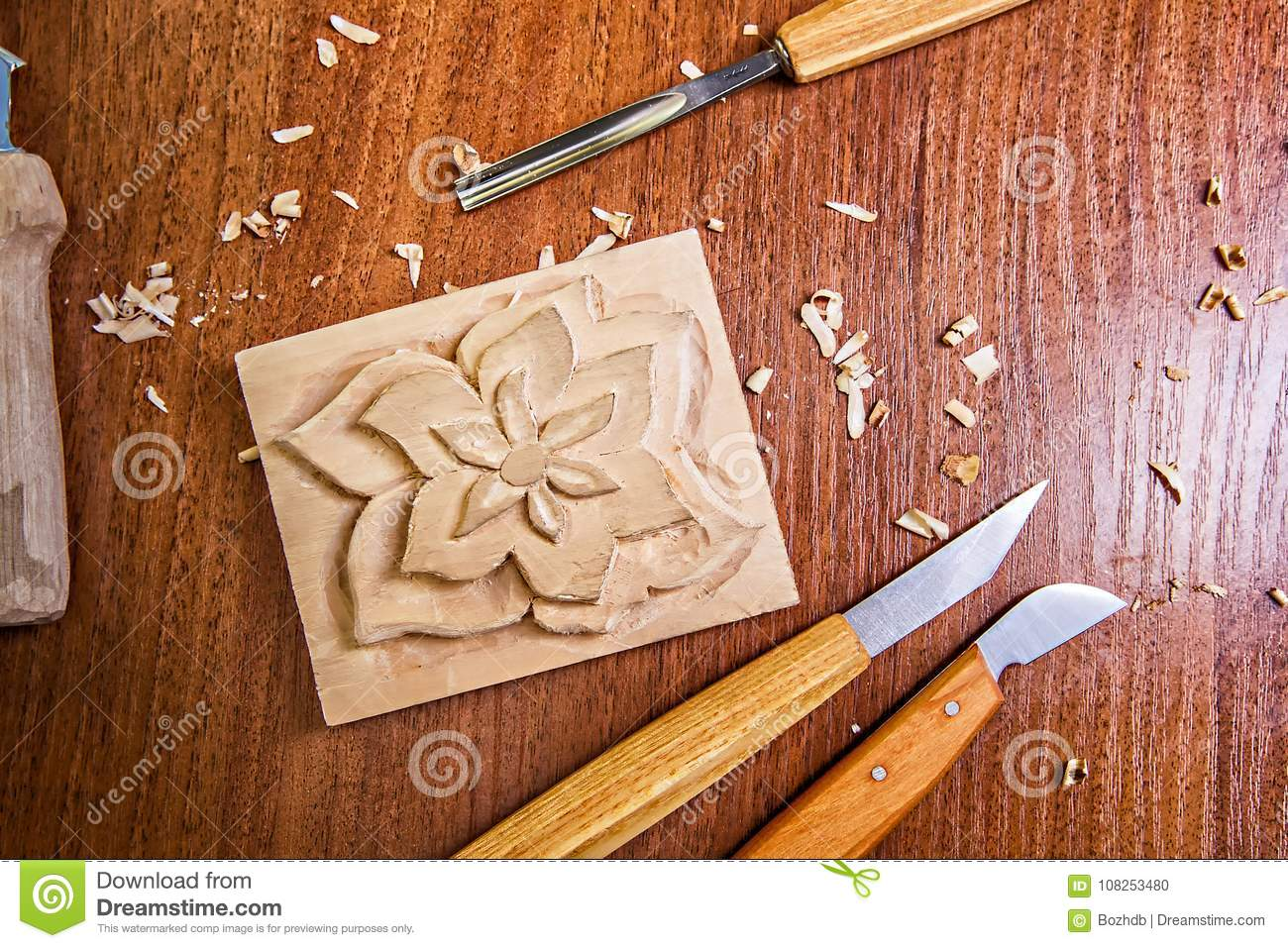 Old Used Wood Carving Tools Stock Photo - Image of craft