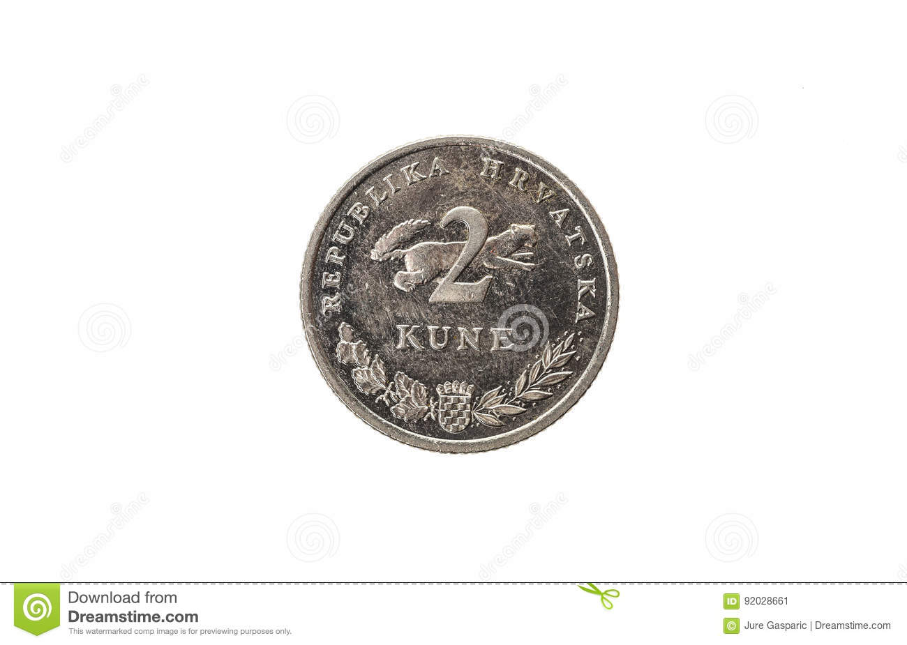 Old Used And Worn Out 2 Kuna Coin Stock Image Image Of Currency