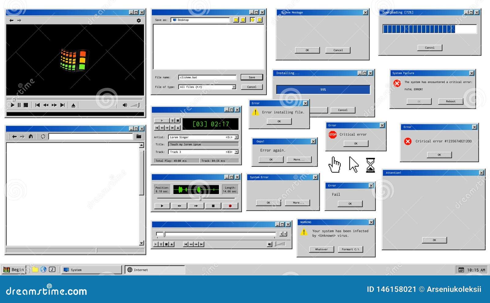 Retro Browser Windows And Error Message Popup  Mockup Of Vintage