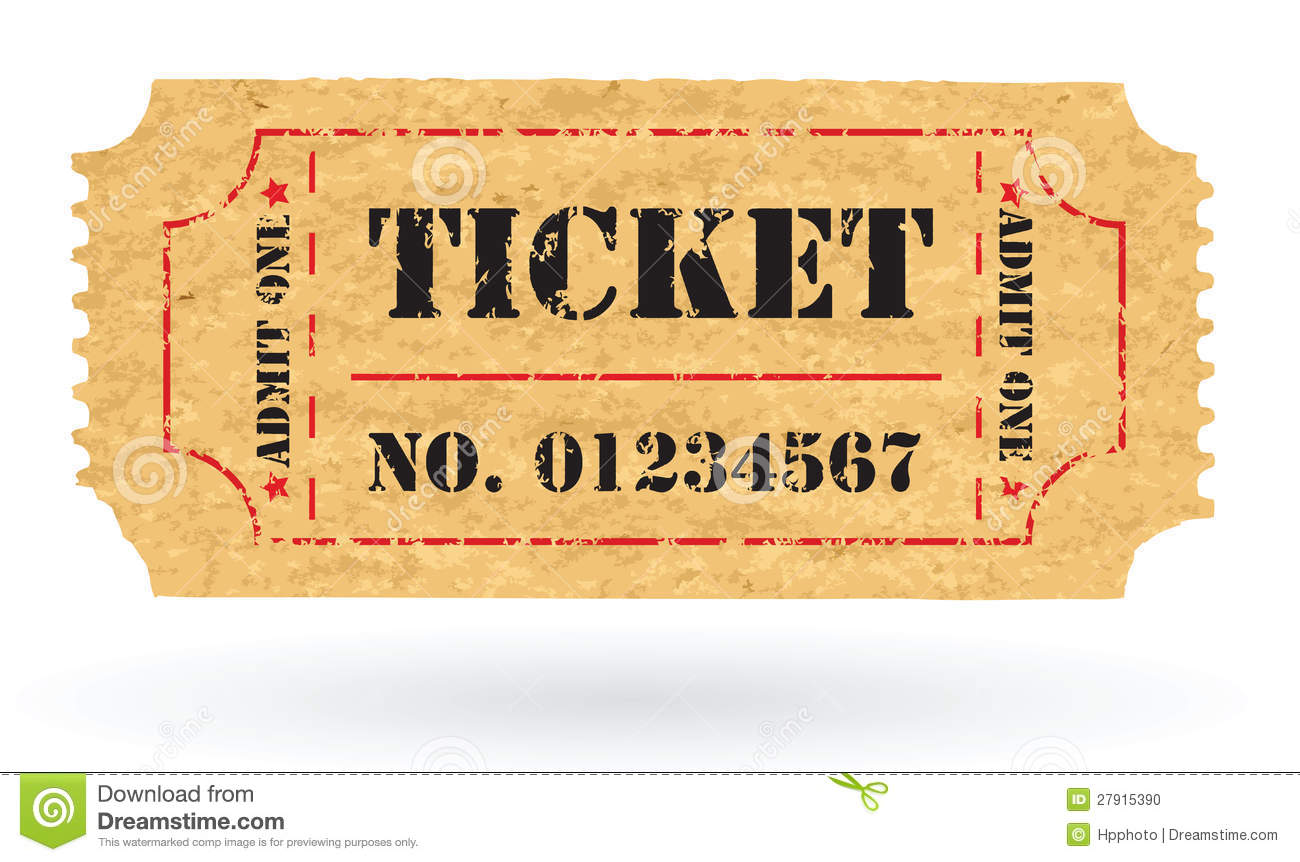 Old Vector Vintage Paper Ticket With Number Stock Vector