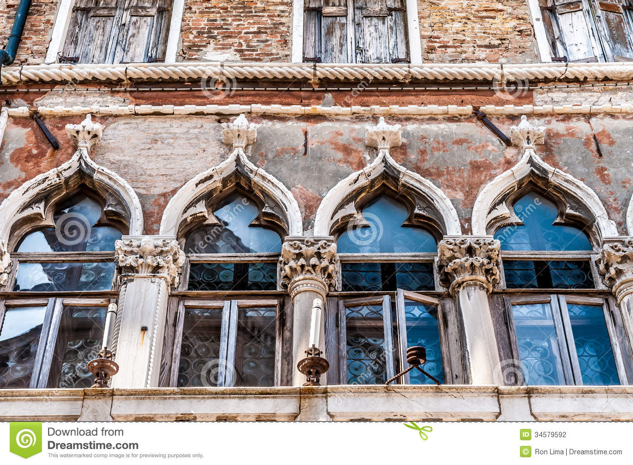 Old Venetian Window Details Stock Photo Image Of Colored
