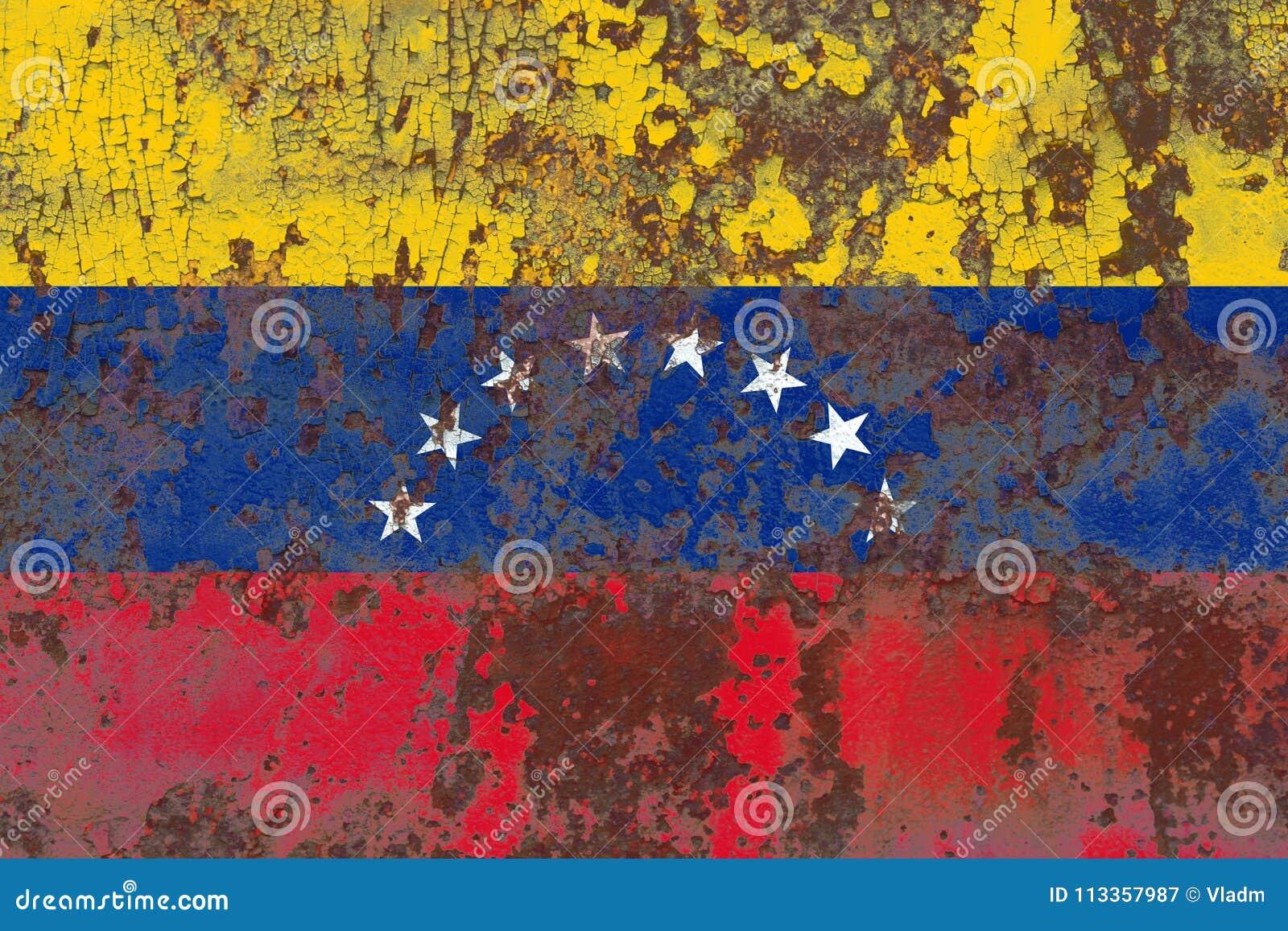 Old Venezuela grunge background flag