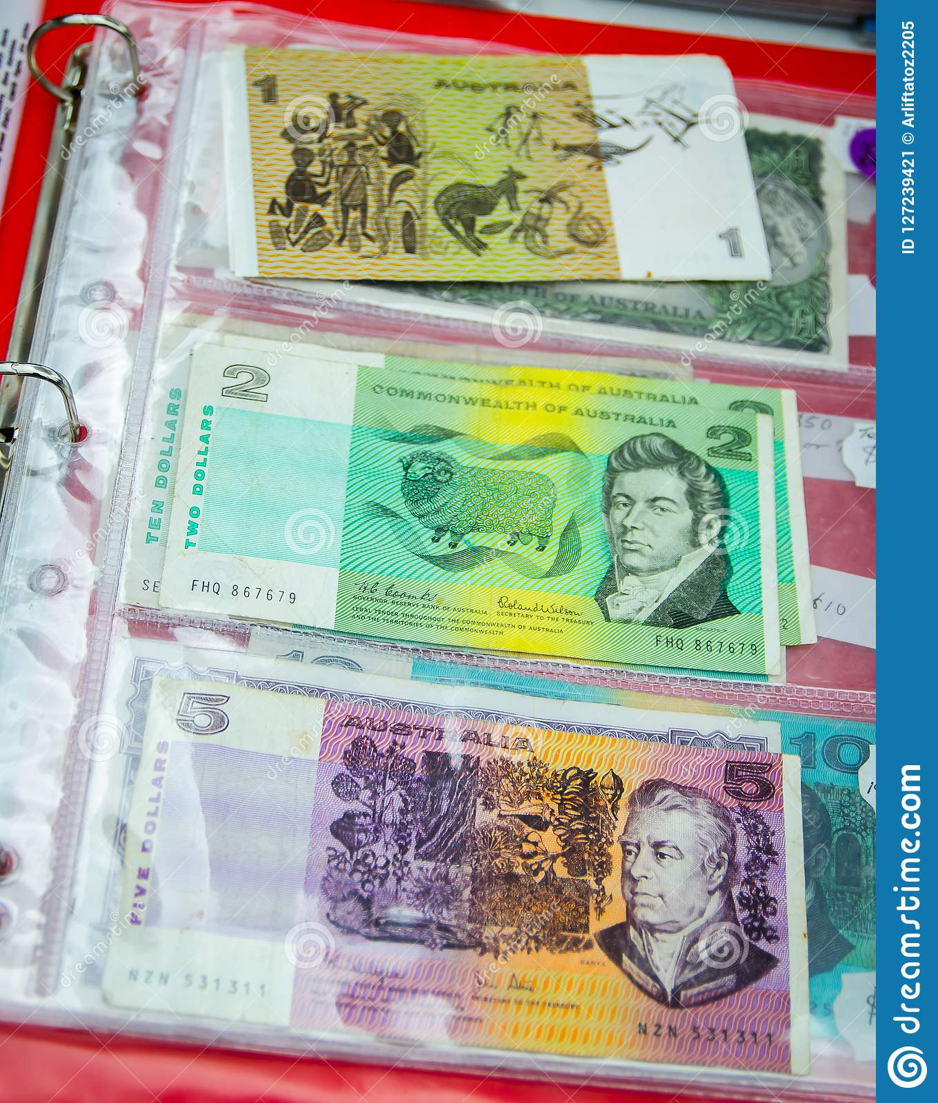 The Old Version Of Australian Banknotes In Value Of 1 , 2