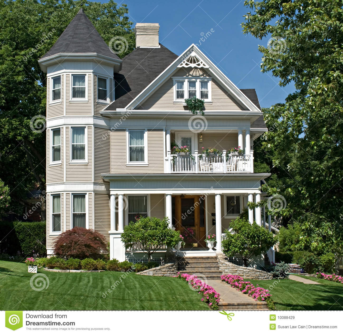 Old victorian house stock image image of green flowers for House turret designs